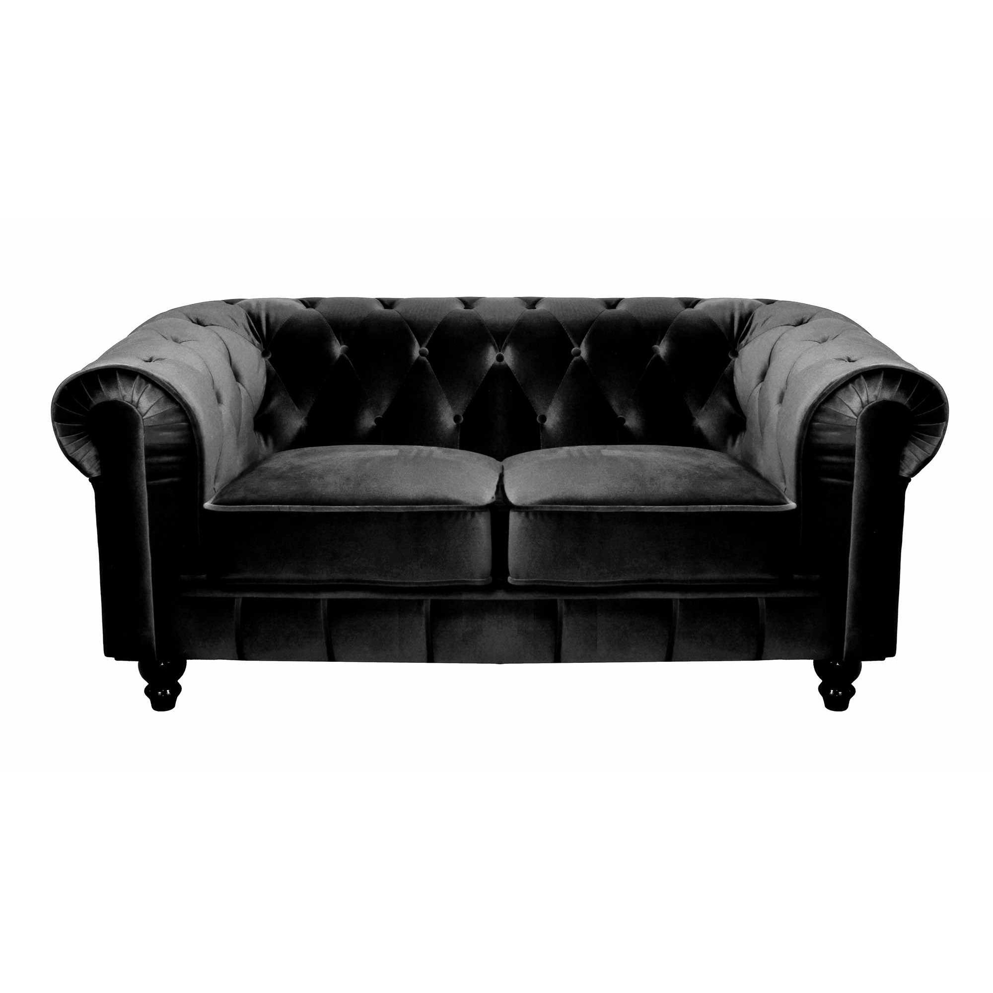 deco in paris canape 2 places velours noir chesterfield. Black Bedroom Furniture Sets. Home Design Ideas