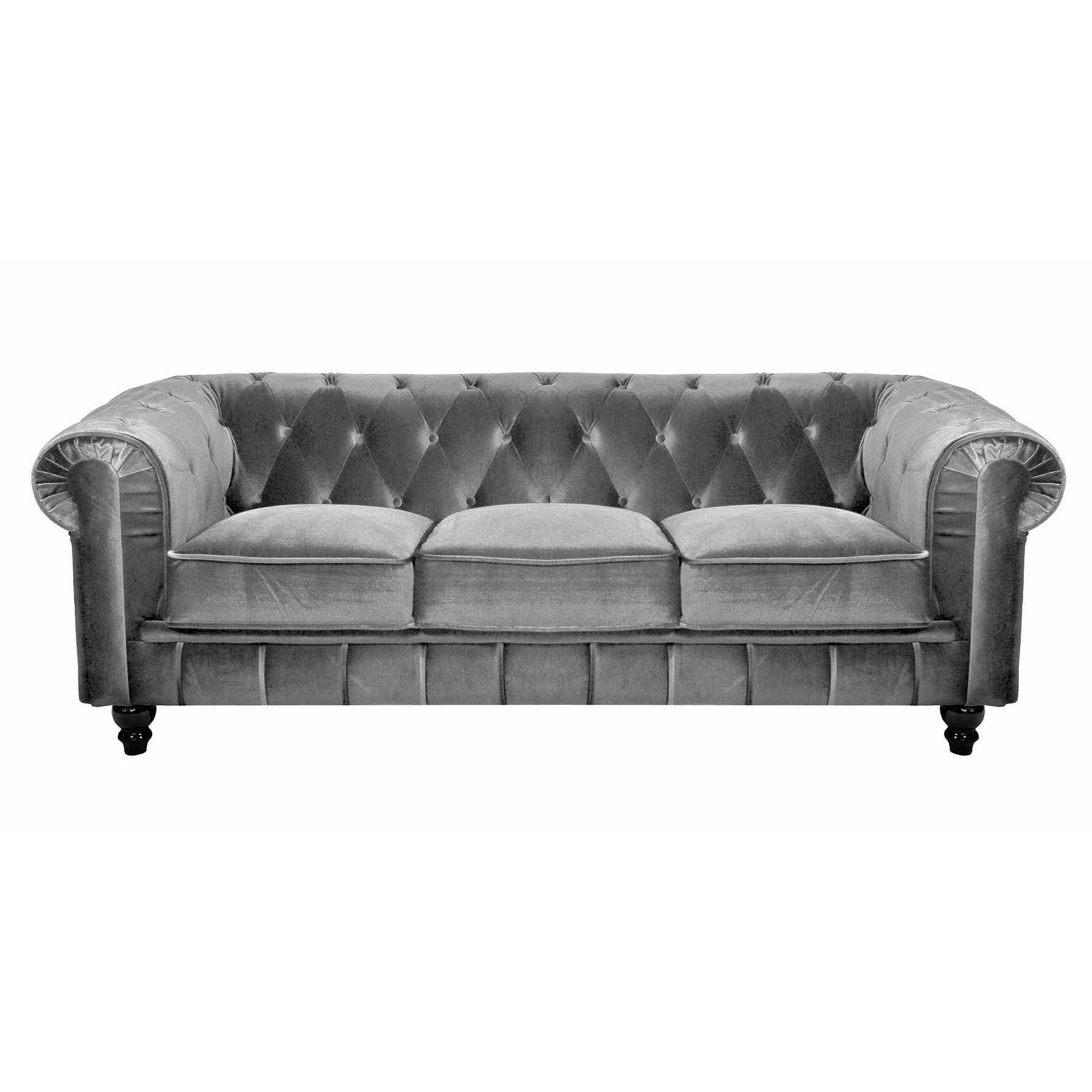 Deco in paris canape 3 places velours gris chesterfield - Canape chesterfield tissu gris ...