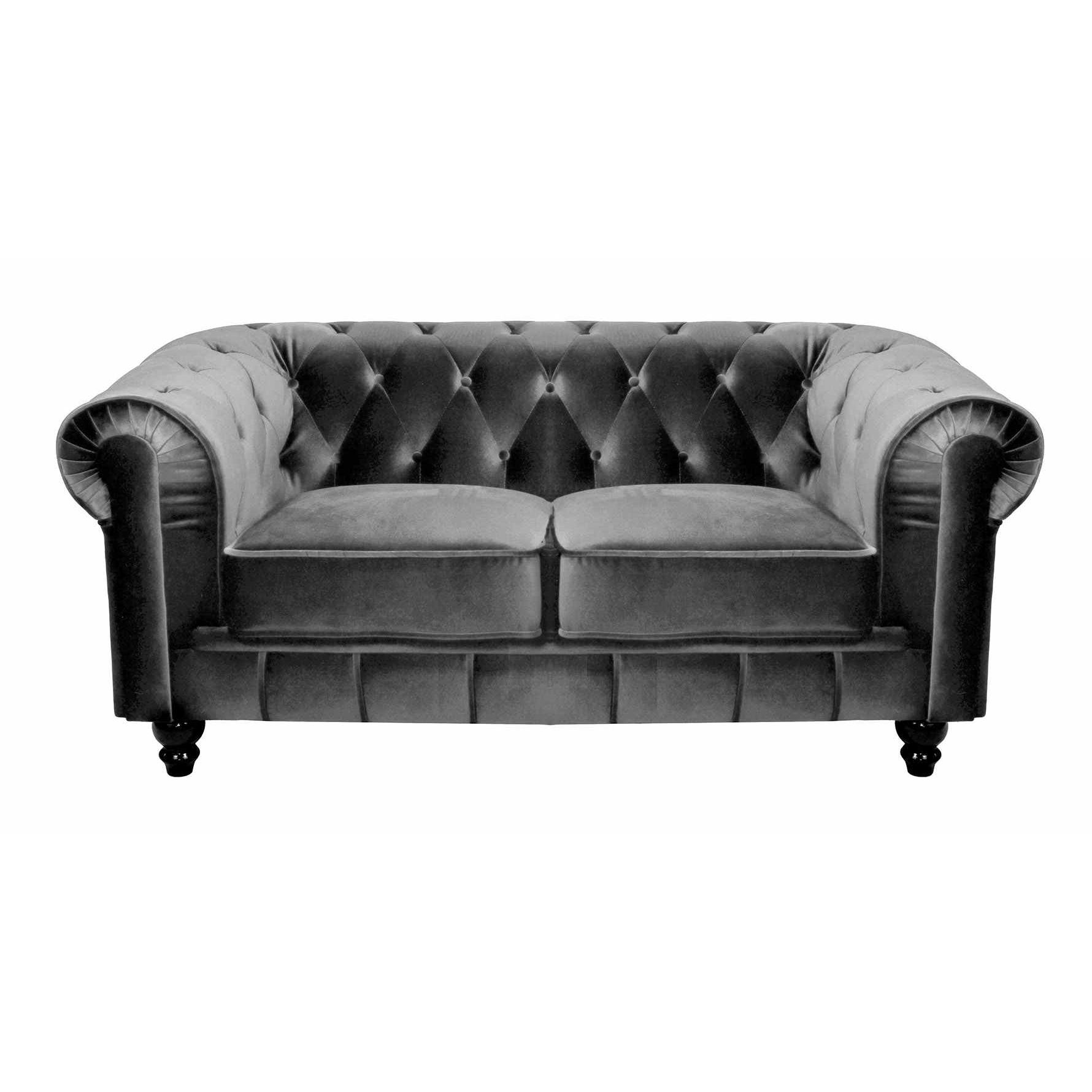 Deco in paris canape 2 places velours gris chesterfield - Canape chesterfield tissu gris ...