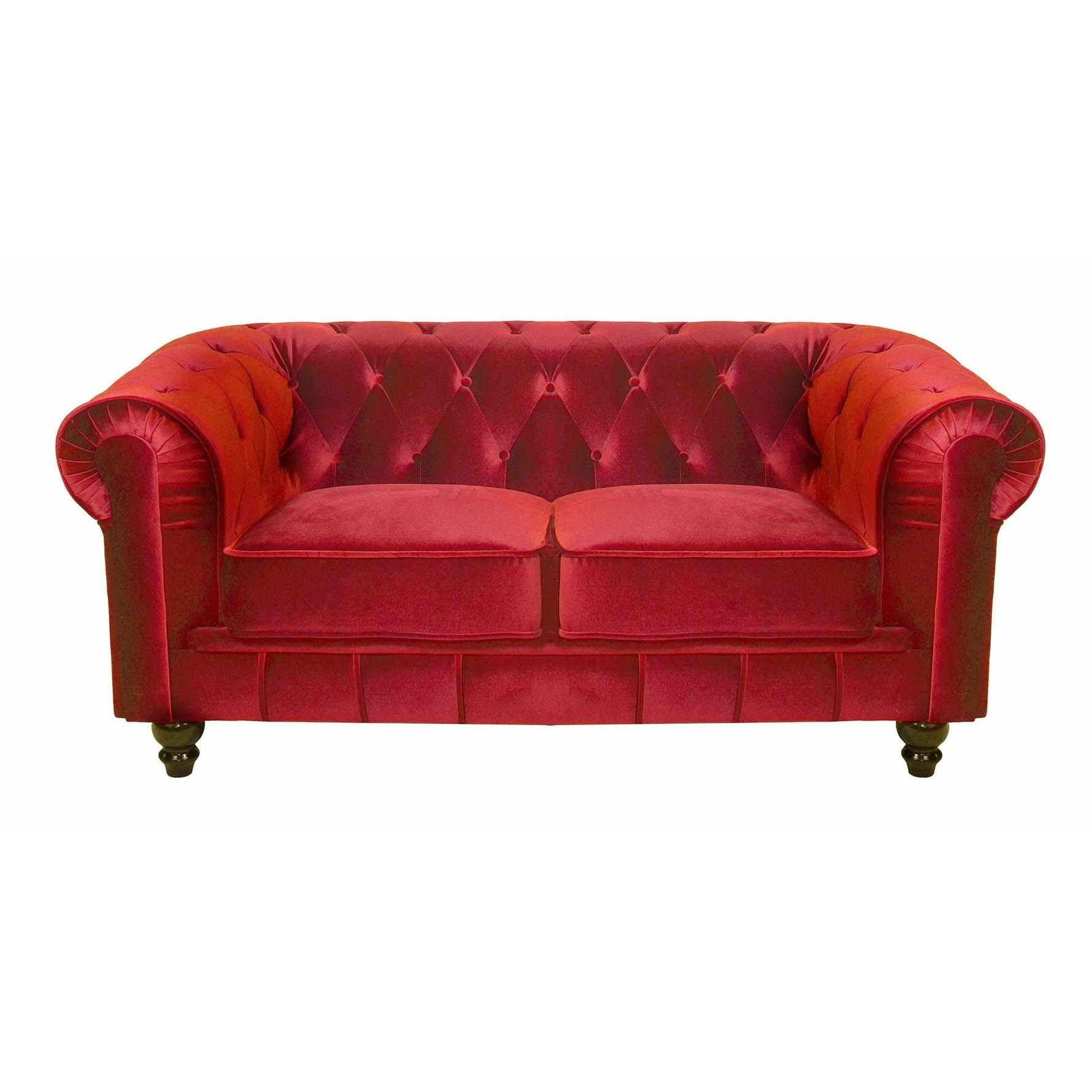 Deco in paris canape 2 places velours rouge chesterfield for Canape chesterfield en velours