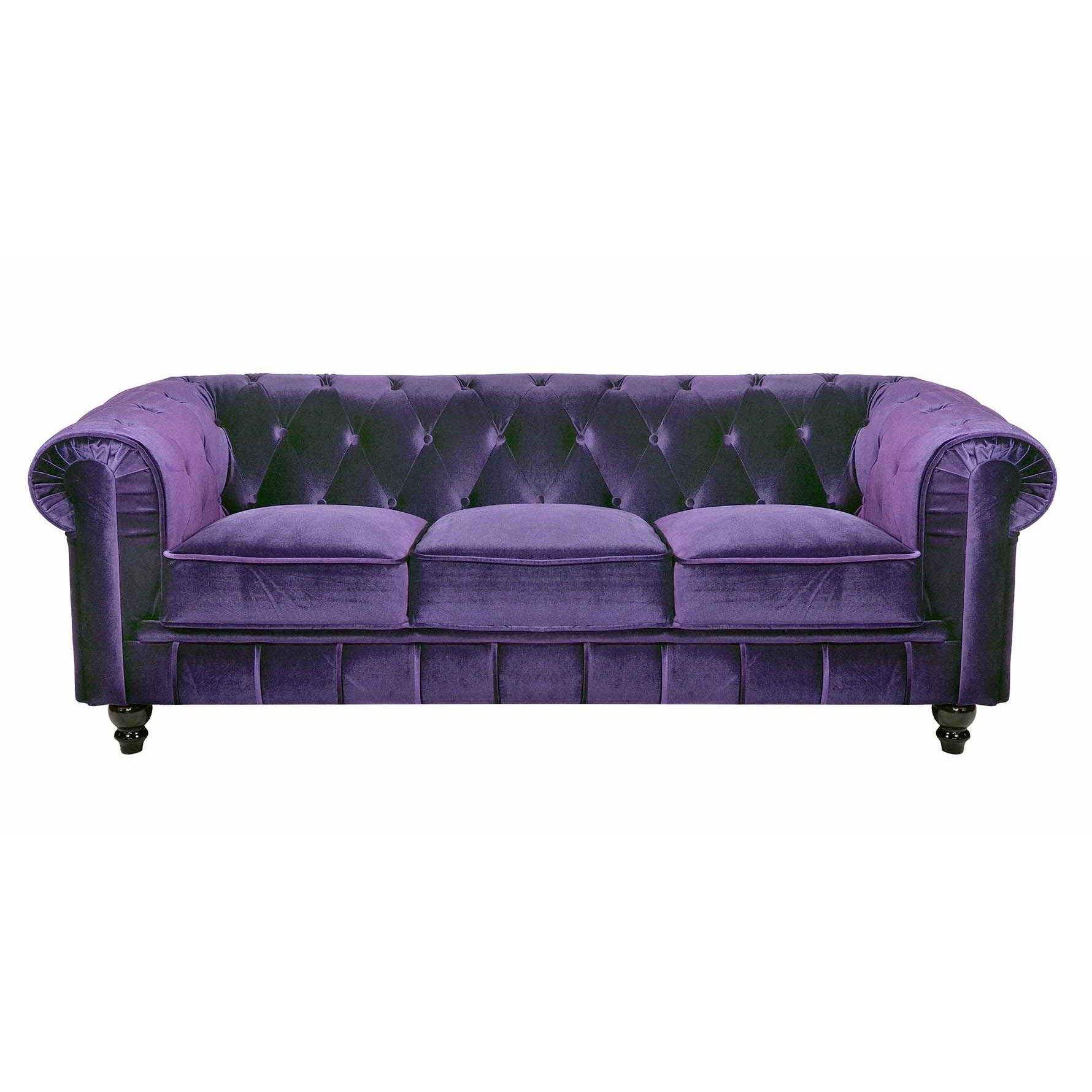 Deco in paris canape 3 places velours violet chesterfield can chester 3p ve - Canape chesterfield violet ...