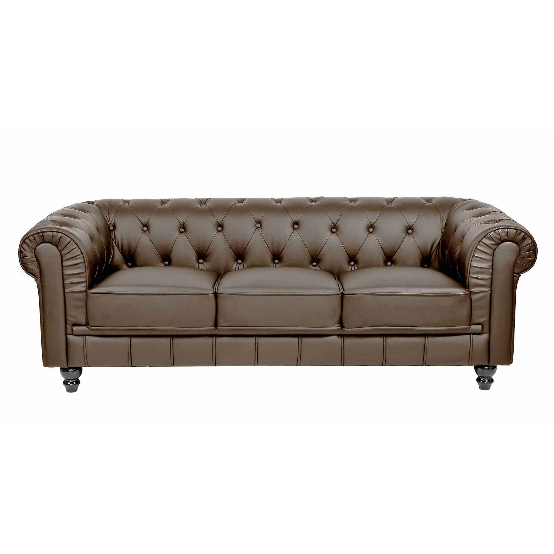 deco in paris canape 3 places marron chesterfield can chester 3p pu marron. Black Bedroom Furniture Sets. Home Design Ideas
