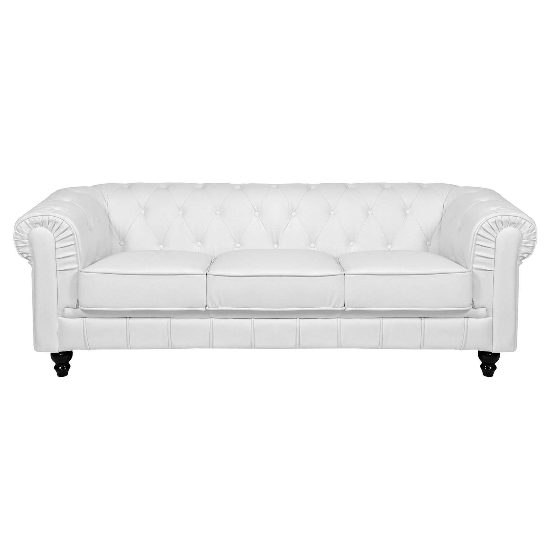 Deco in paris canape 3 places blanc chesterfield can chester 3p pu blanc - Canape chesterfield blanc ...