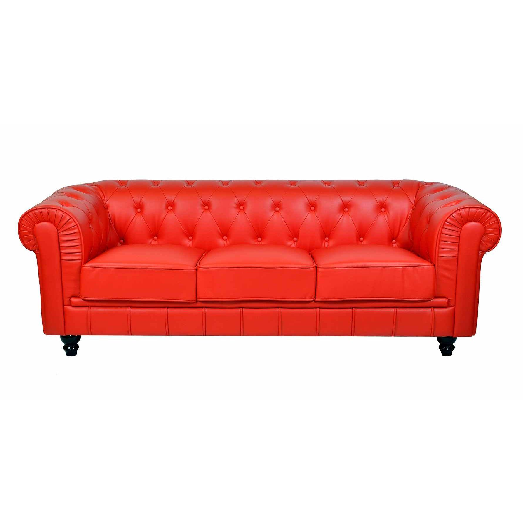 Deco In Paris Canape Chesterfield 3 Places Rouge Can Chester 3p Pu Rouge