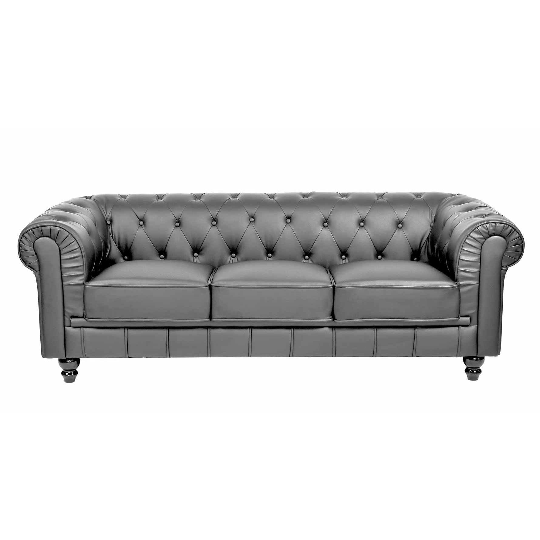 Deco in paris canape 3 places gris chesterfield can - Canape chesterfield tissu gris ...