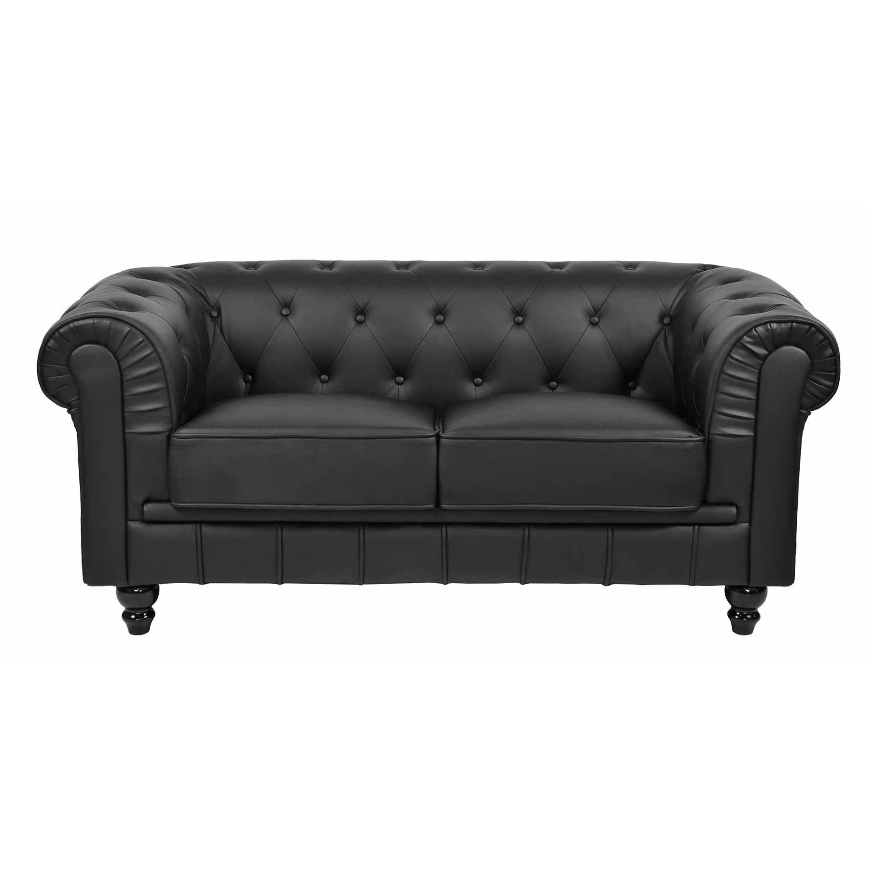Deco in paris canape 2 places noir chesterfield can chester 2p pu noir - Canape chesterfield noir ...