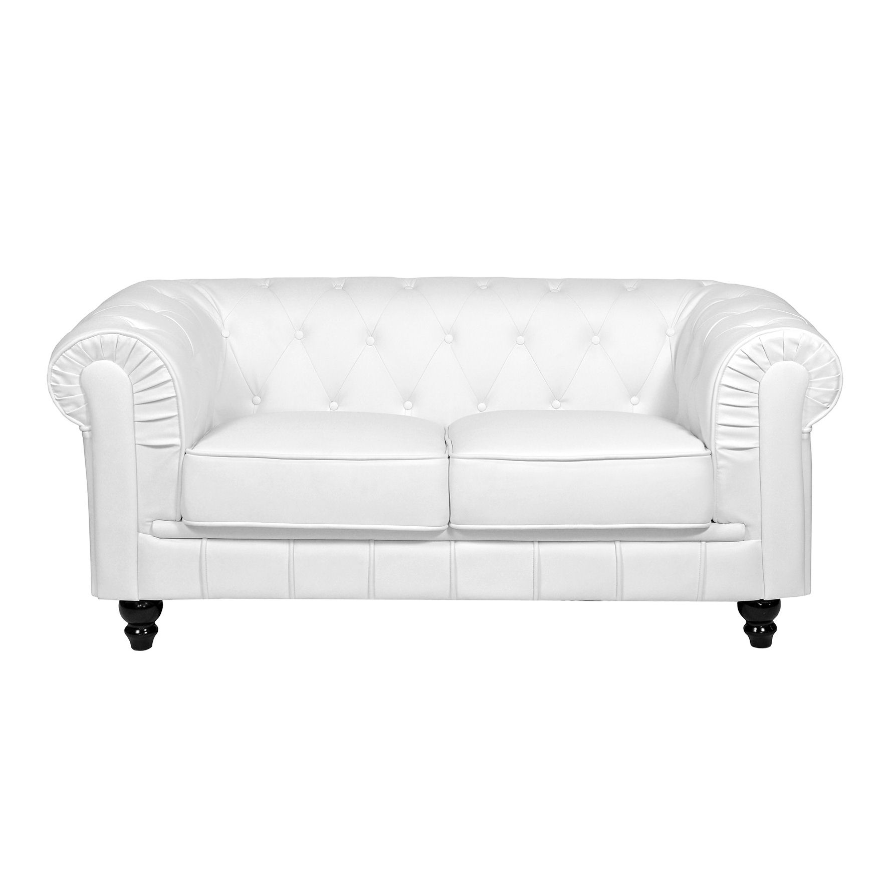 Deco in paris canape 2 places blanc chesterfield can chester 2p pu blanc - Canape chesterfield blanc ...