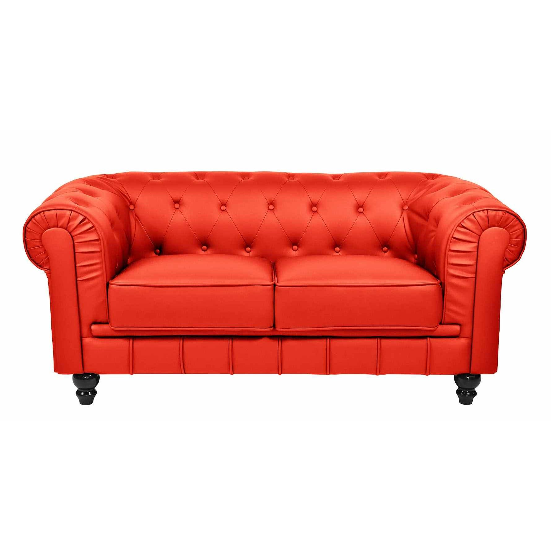 Deco in paris canape 2 places rouge chesterfield can chester 2p pu rouge - Canape chesterfield 2 places ...