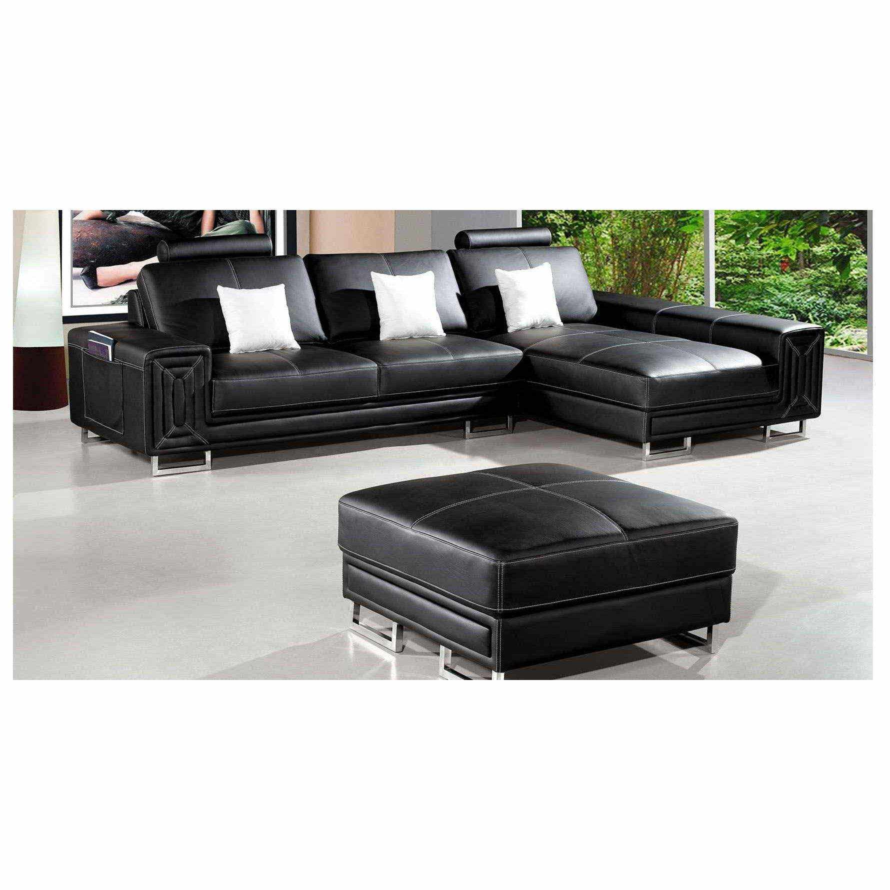 Deco in paris canape cuir d angle noir avec pouf for Canape cuir paris