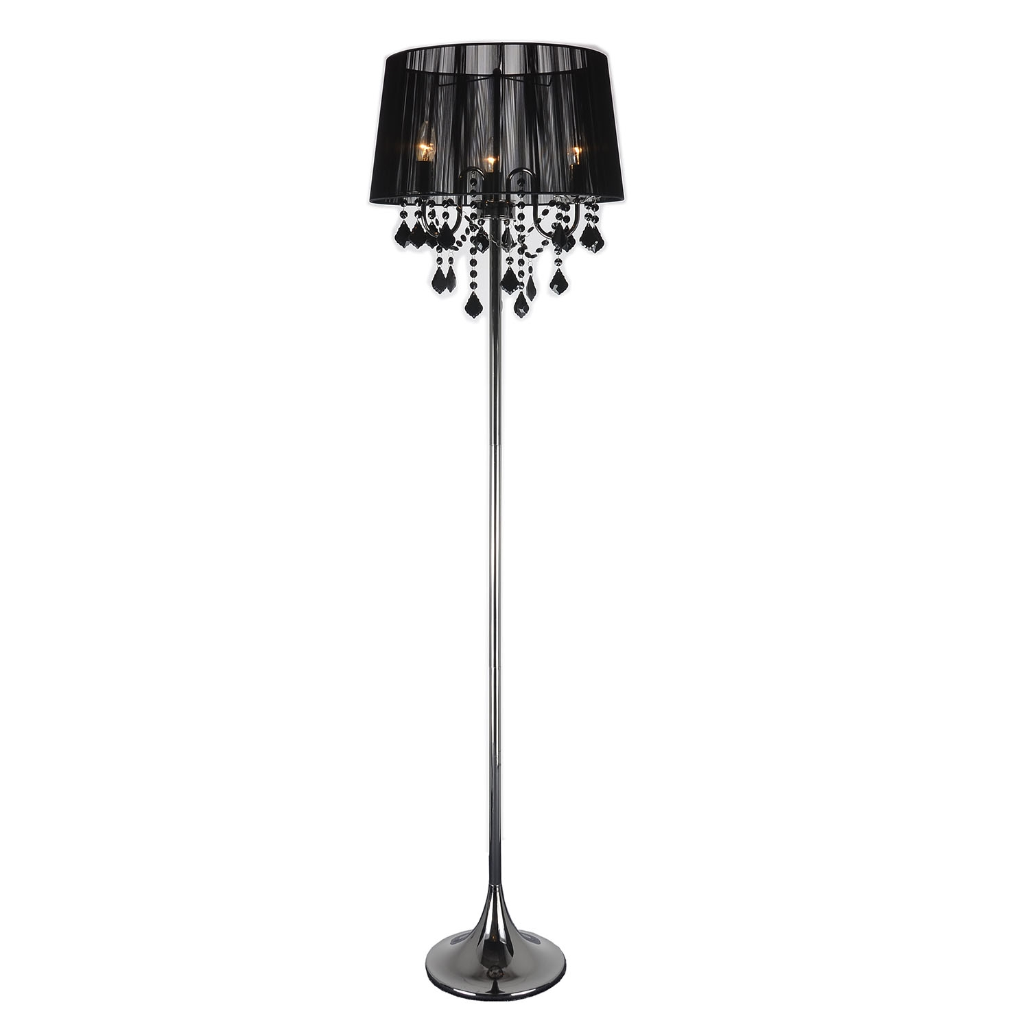 deco in paris lampadaire a pampilles en metal avec abat jour noir majesty majesty noir luminaire. Black Bedroom Furniture Sets. Home Design Ideas