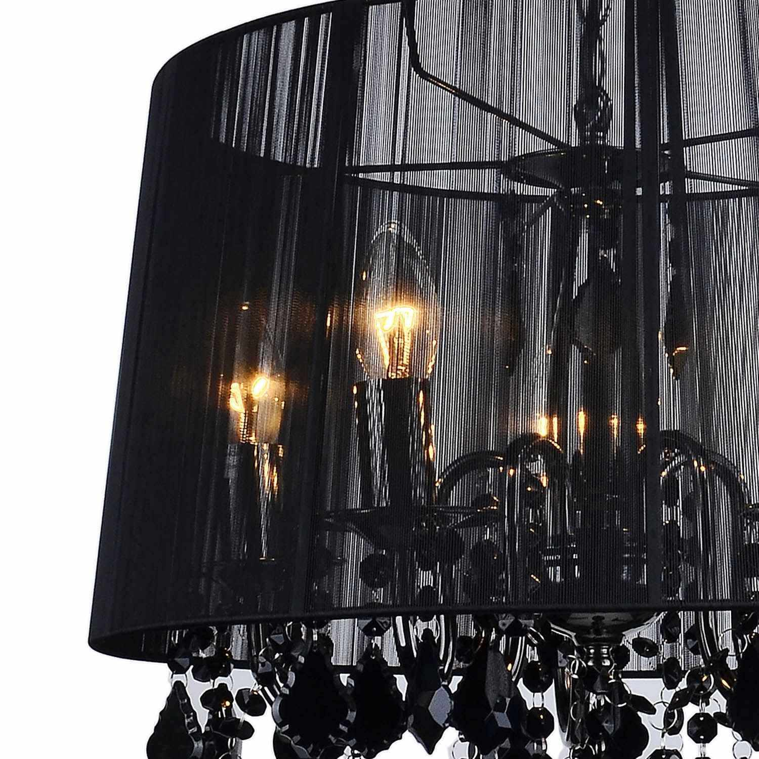 deco in paris lustre a pampilles en metal et abat jour. Black Bedroom Furniture Sets. Home Design Ideas