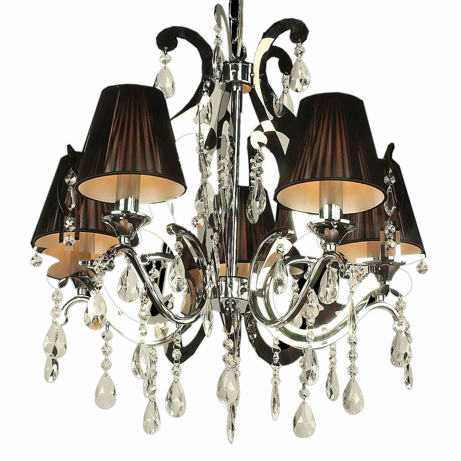 deco in paris lustre contemporain en metal et abat jour noirs baro luminaire baro noir. Black Bedroom Furniture Sets. Home Design Ideas