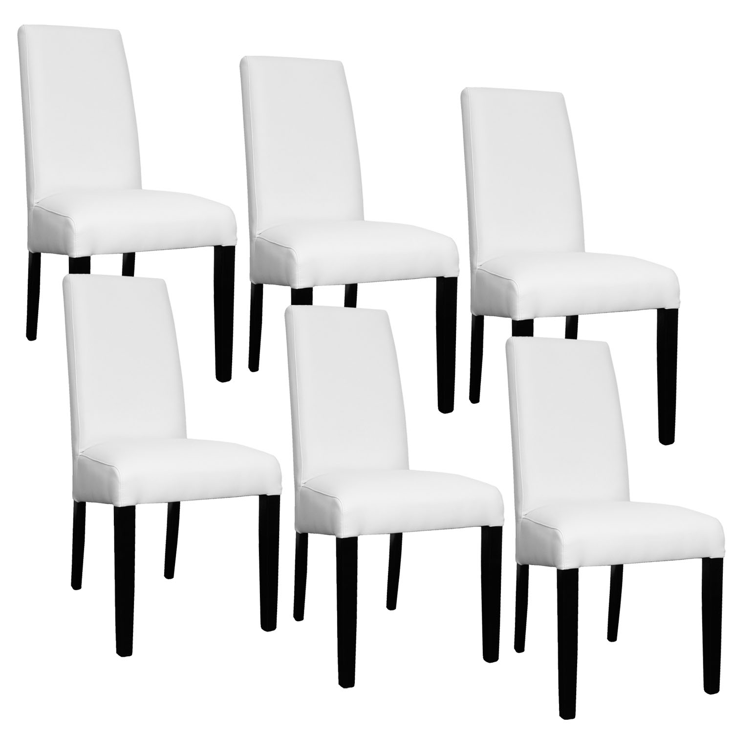 Deco in paris lot de 6 chaises blanche muka muka 6 blanc for Chaise blanche
