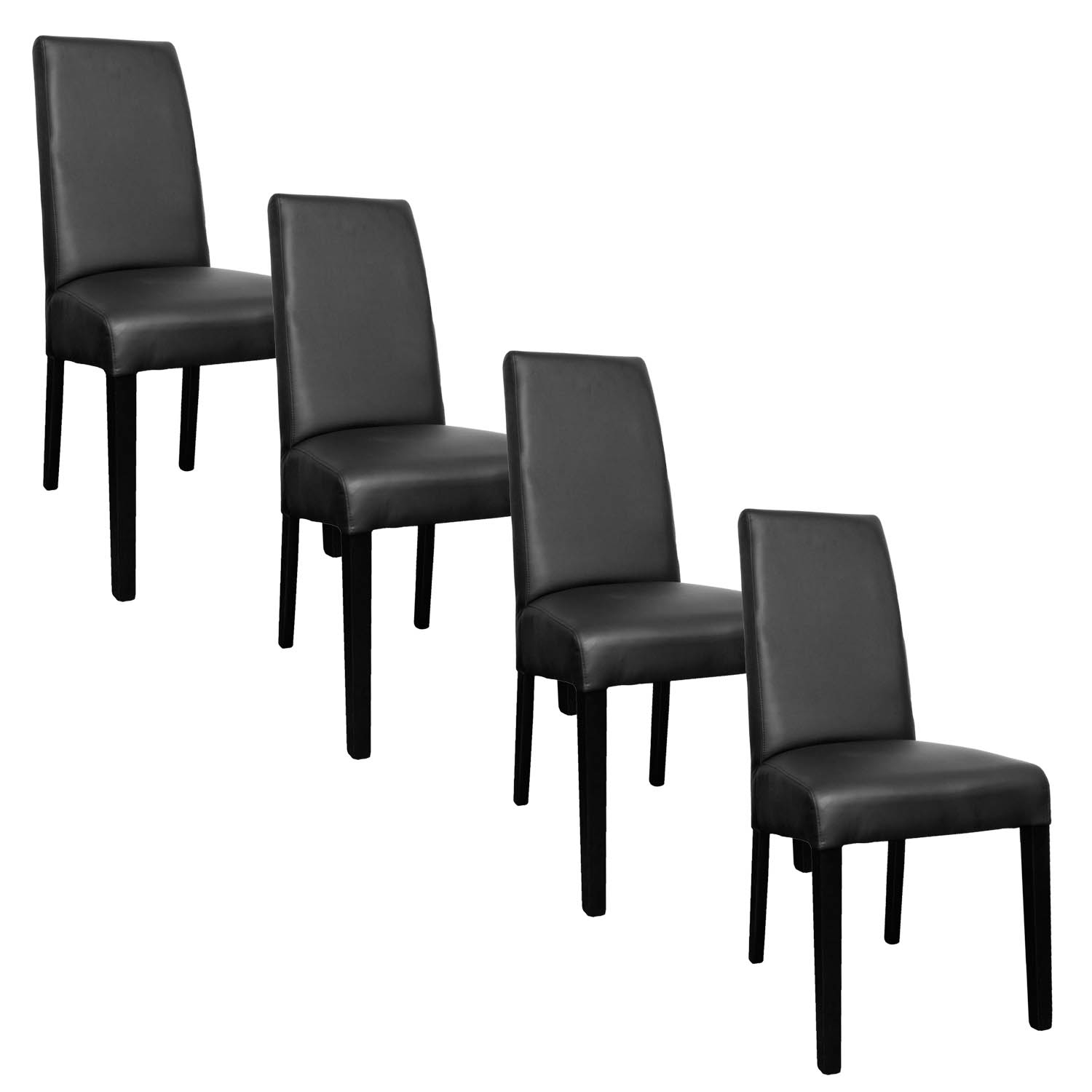 Deco in paris lot de 4 chaises noir muka muka noir x4 for Lot 4 chaises