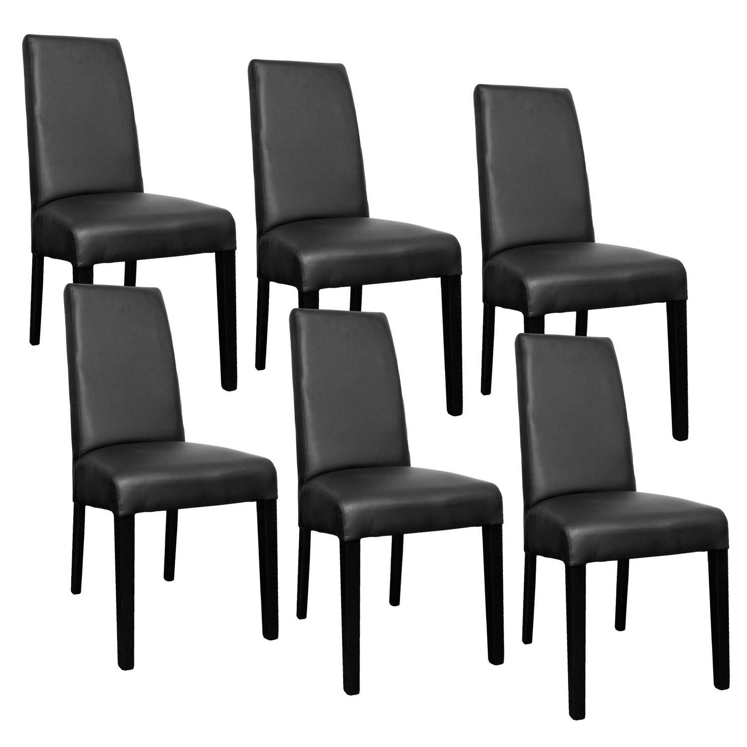 deco in paris lot de 6 chaises noir muka muka noir 6. Black Bedroom Furniture Sets. Home Design Ideas