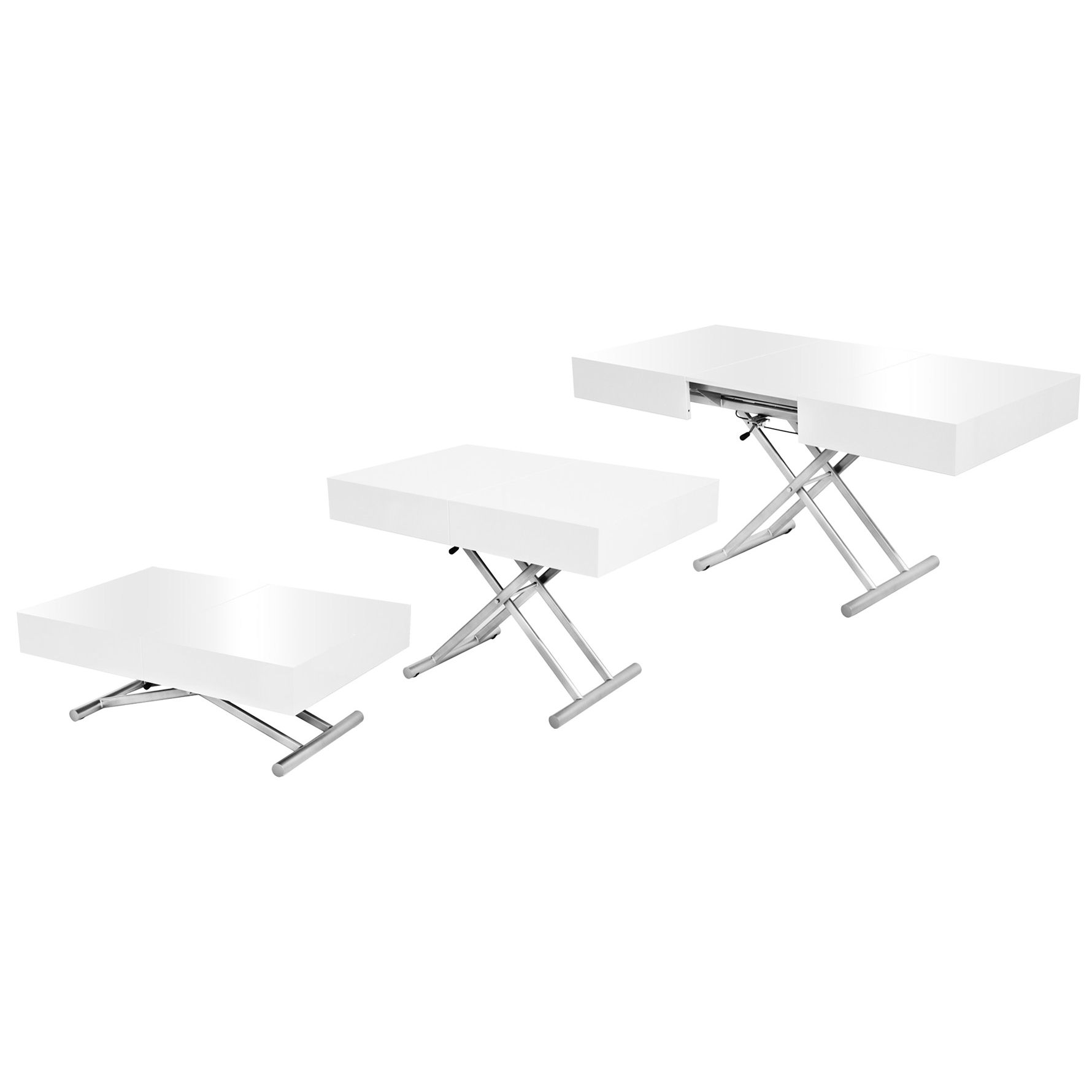 Deco in paris table basse relevable extensible blanche - Mecanisme table basse relevable ...