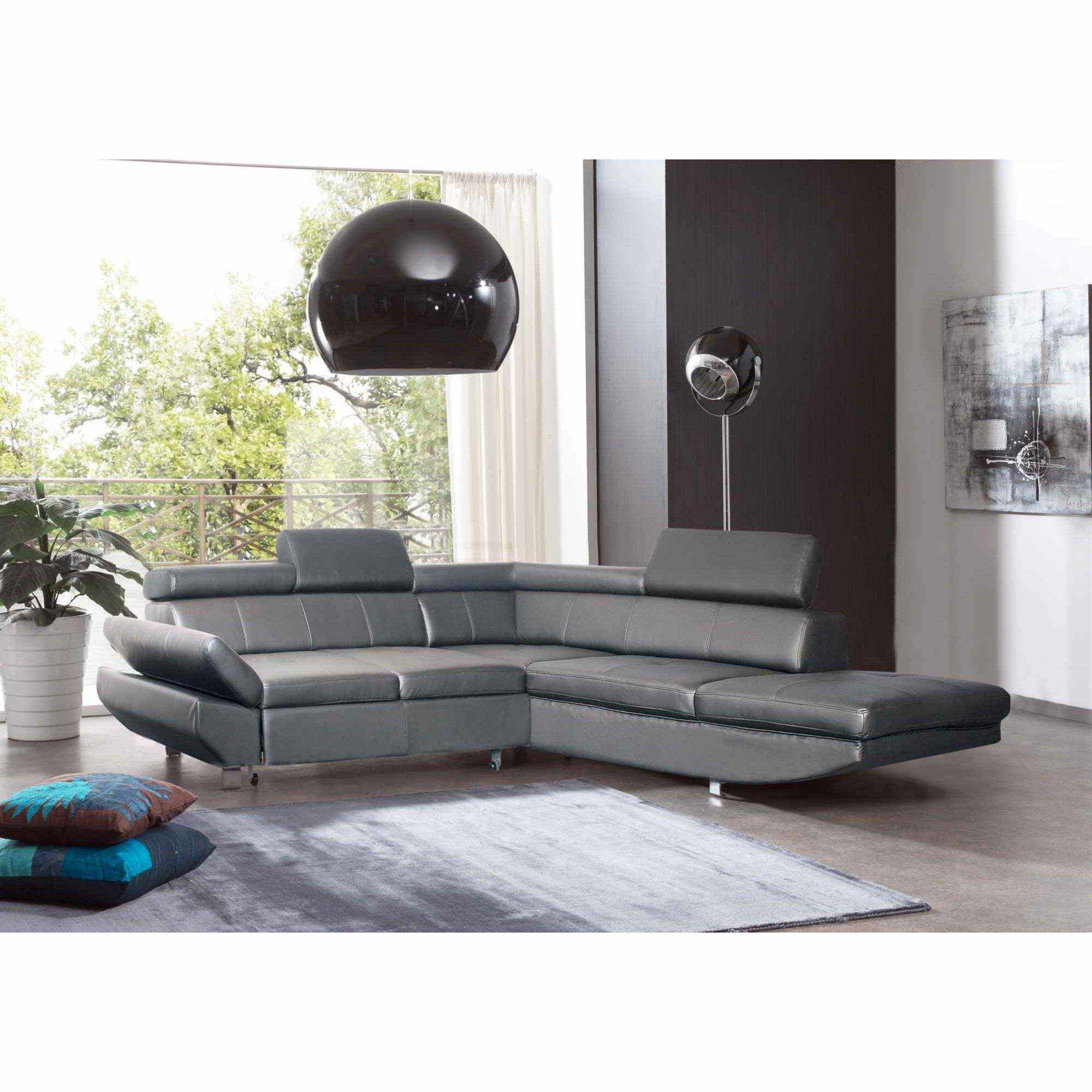 Deco in paris canape d angle design convertible gris for Canape d angle design
