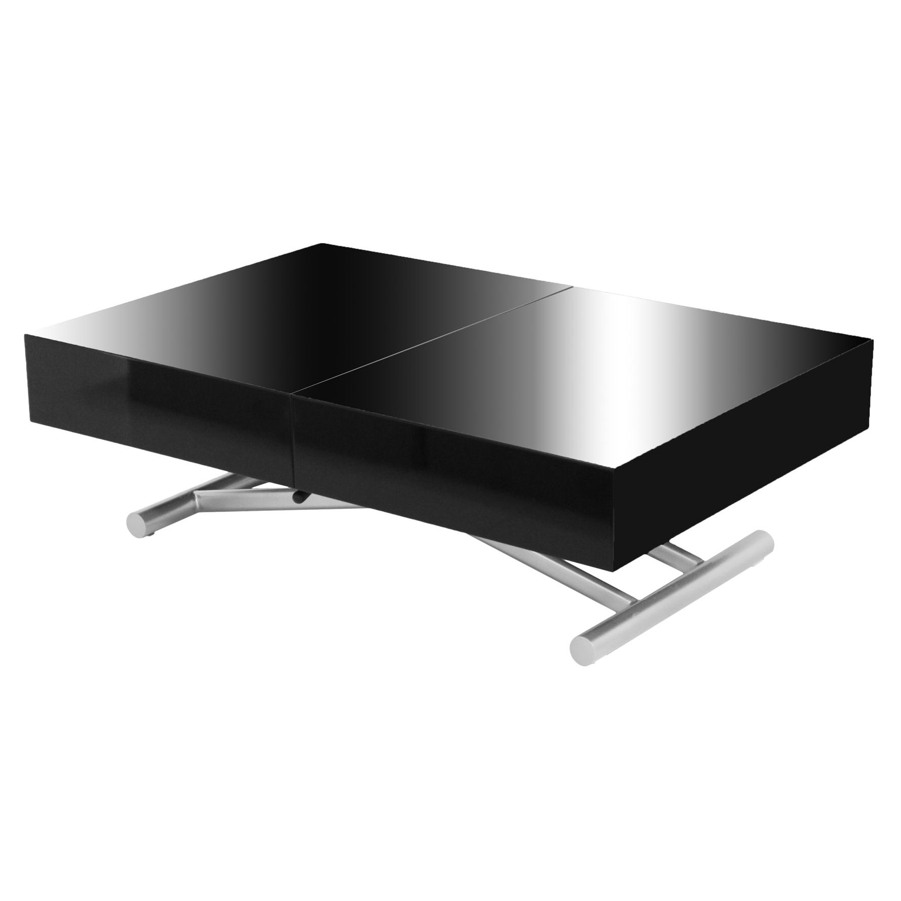 Deco in paris table basse relevable extensible noire laquee smart tab rel m - Table basse relevable but ...