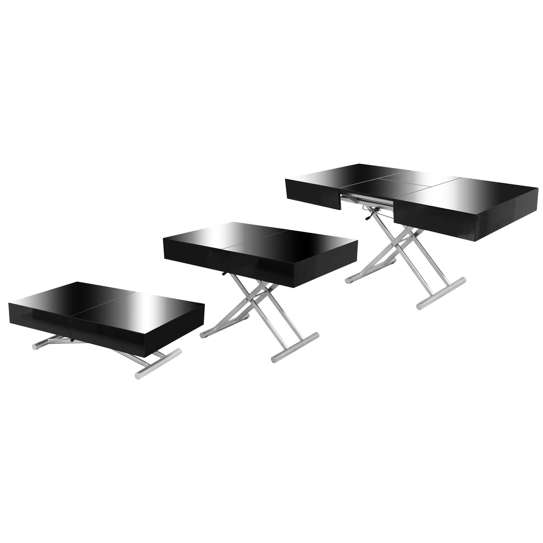 Deco in paris table basse relevable extensible noire for Table de salon a manger