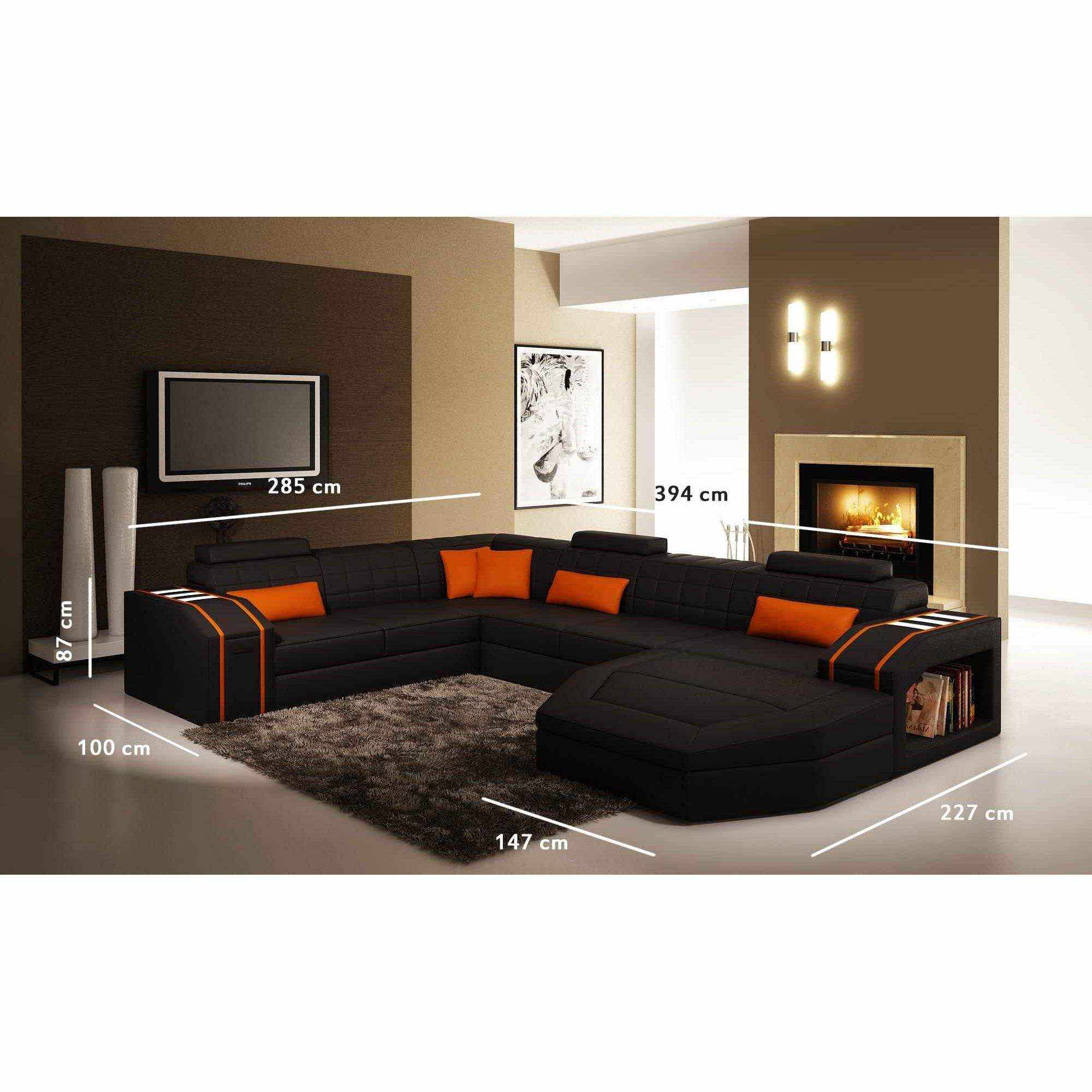 Deco in paris canape d angle panoramique cuir noir et - Canape d angle orange ...