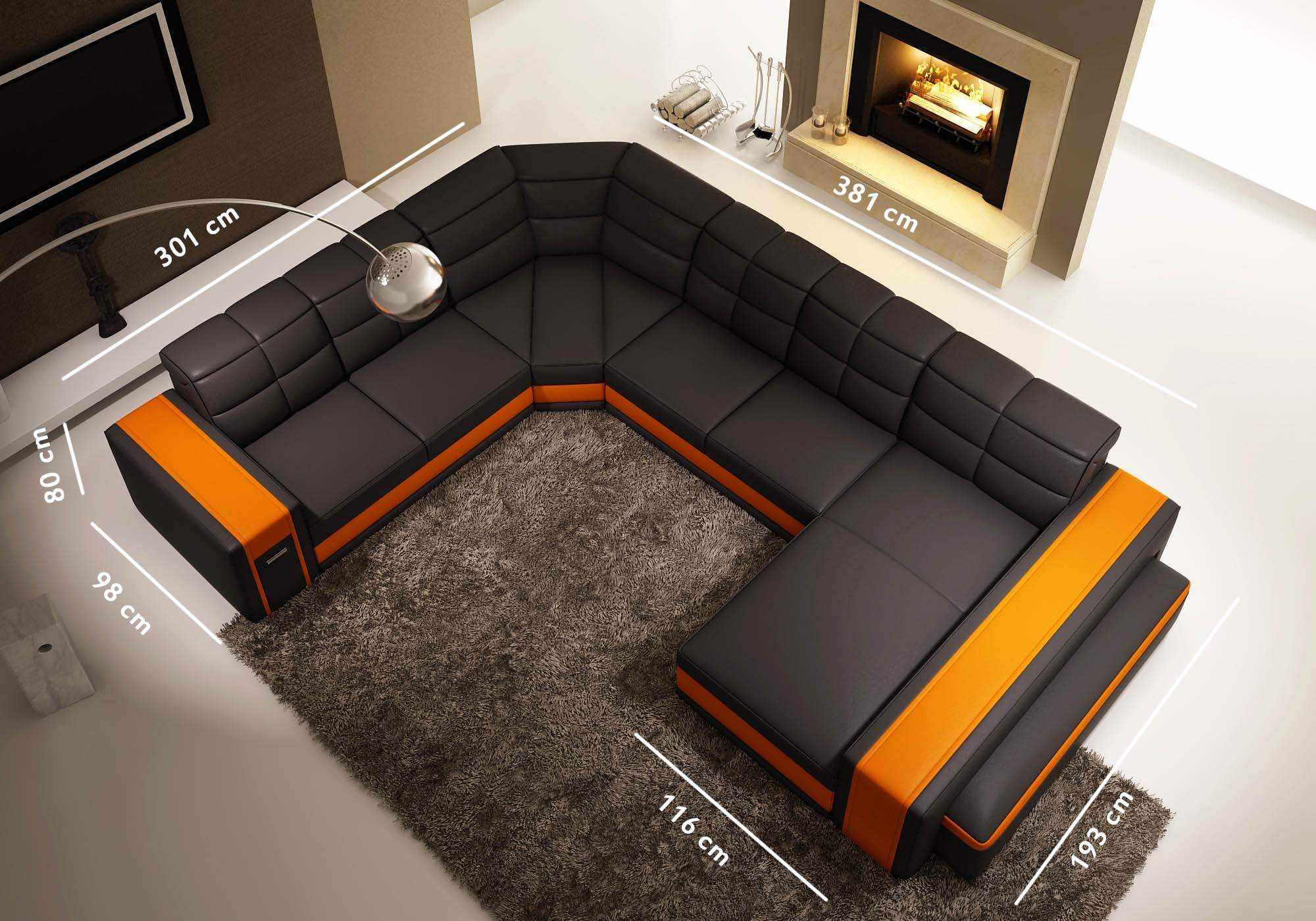 deco in paris canape d angle panoramique en cuir noir et orange pouf eva eva angle pano noir noir. Black Bedroom Furniture Sets. Home Design Ideas