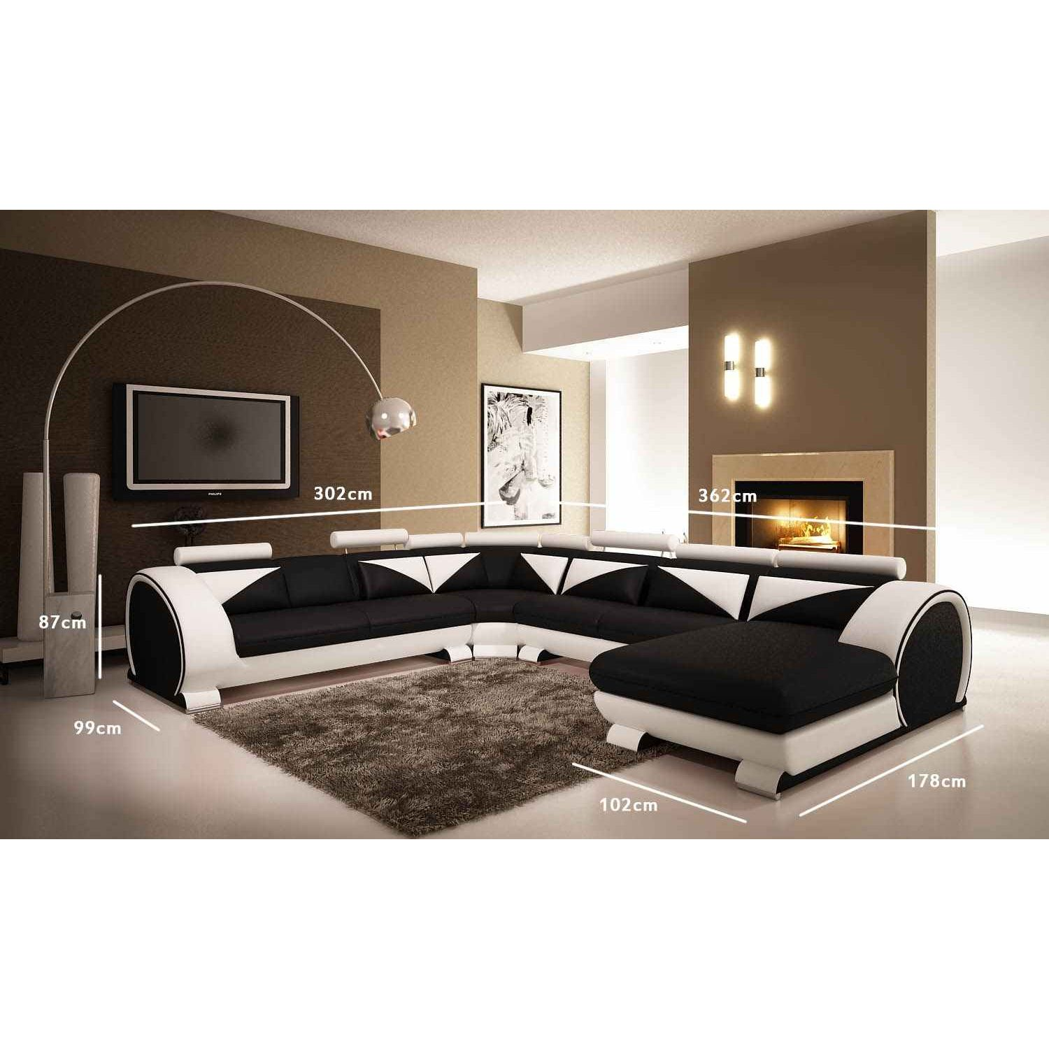 deco in paris canape d angle panoramique cuir noir et blanc miami angle pano miami noir blanc. Black Bedroom Furniture Sets. Home Design Ideas