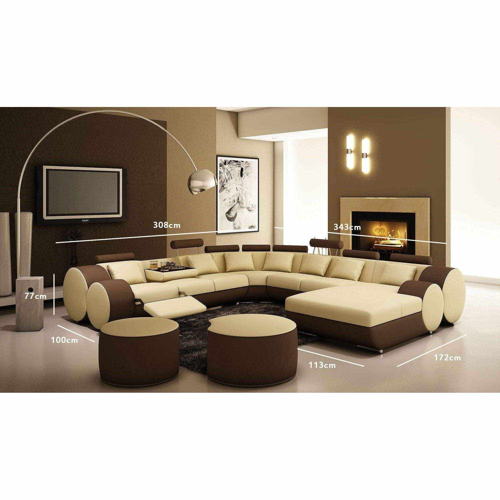 deco in paris canape panoramique cuir beige et marron roma can pan roma beige marron. Black Bedroom Furniture Sets. Home Design Ideas