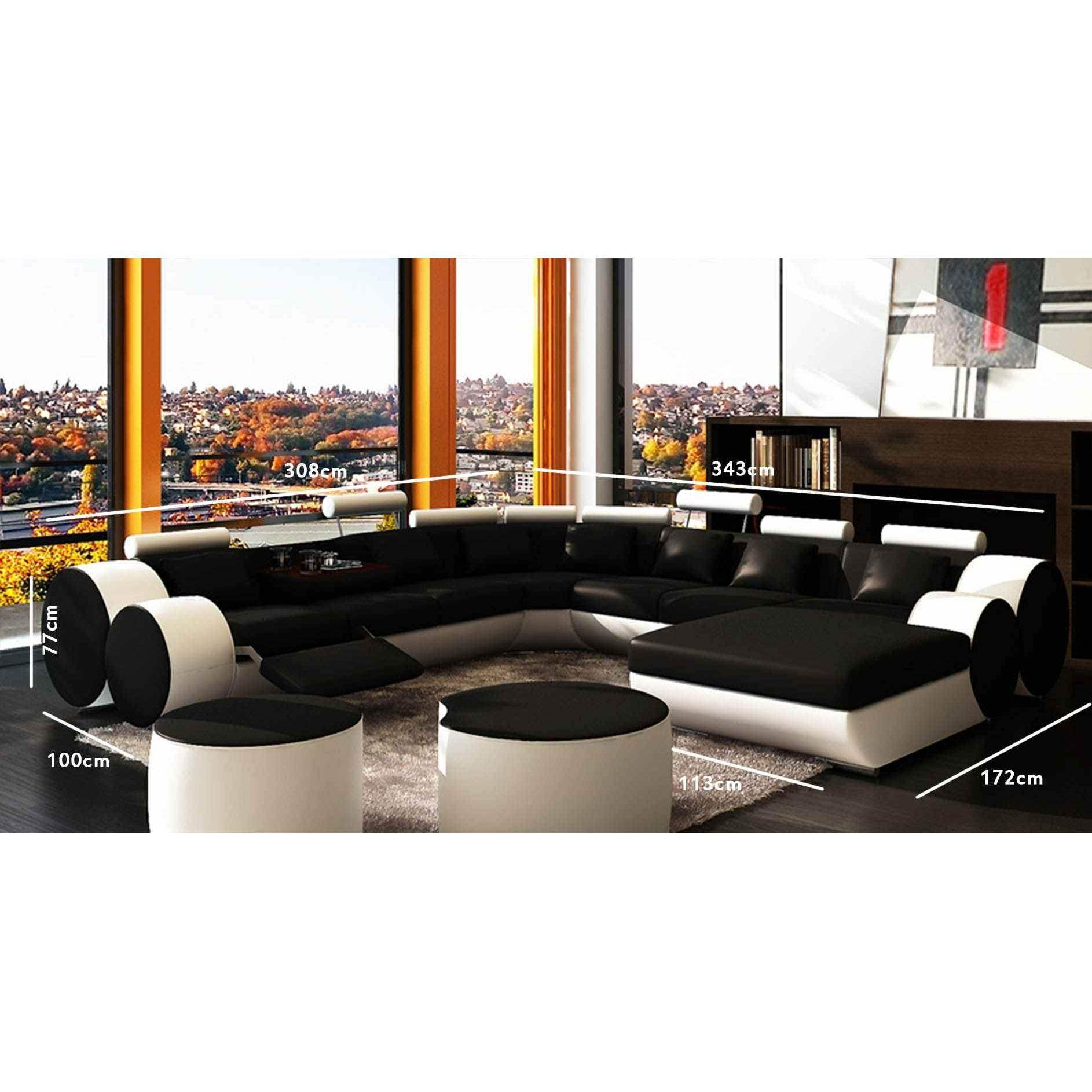 deco in paris canape panoramique cuir noir et blanc roma. Black Bedroom Furniture Sets. Home Design Ideas