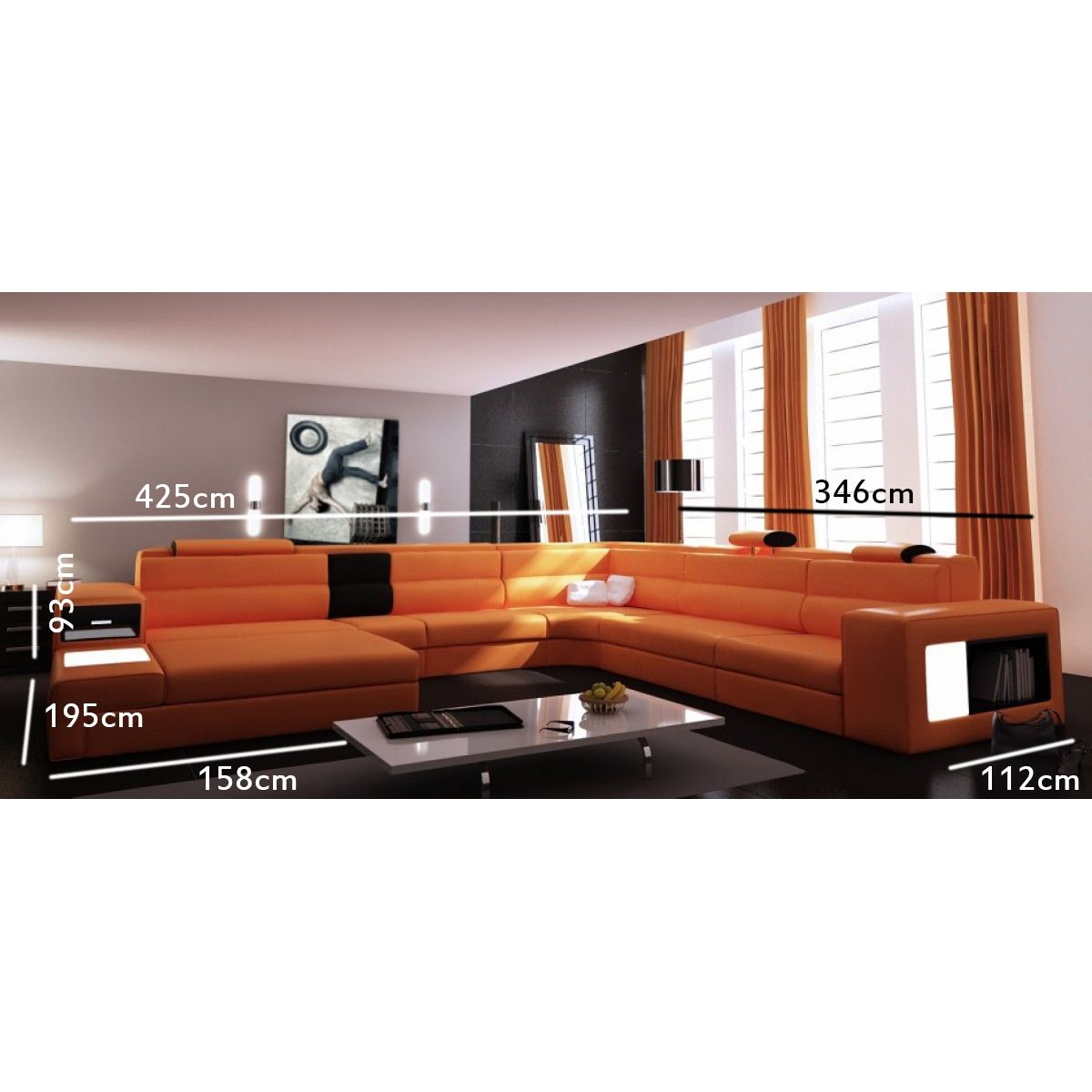 deco in paris canape panoramique angle gauche orange venise can pano anglegauche pu venise orange. Black Bedroom Furniture Sets. Home Design Ideas