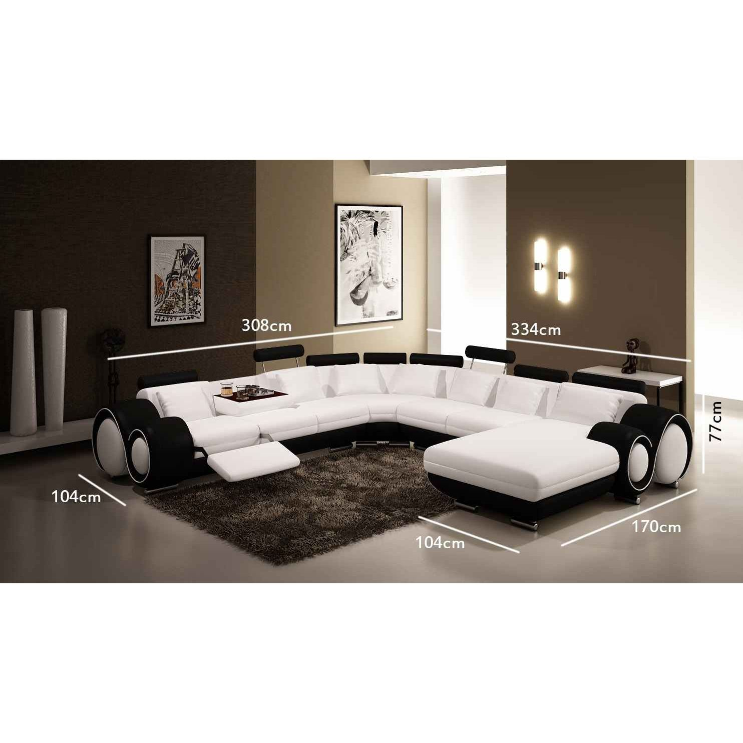 deco in paris canape panoramique cuir blanc et noir oslo. Black Bedroom Furniture Sets. Home Design Ideas