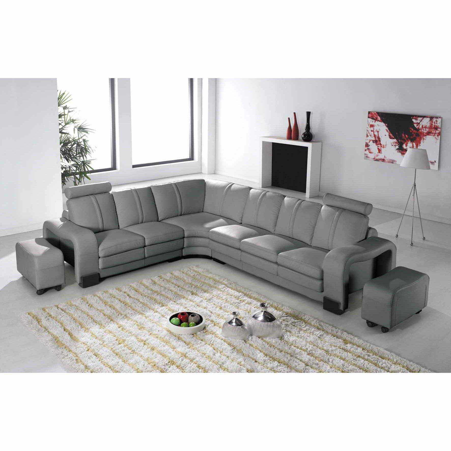 deco in paris 7 canape d angle en cuir gris avec appuie tete relax havane angle gauche can. Black Bedroom Furniture Sets. Home Design Ideas