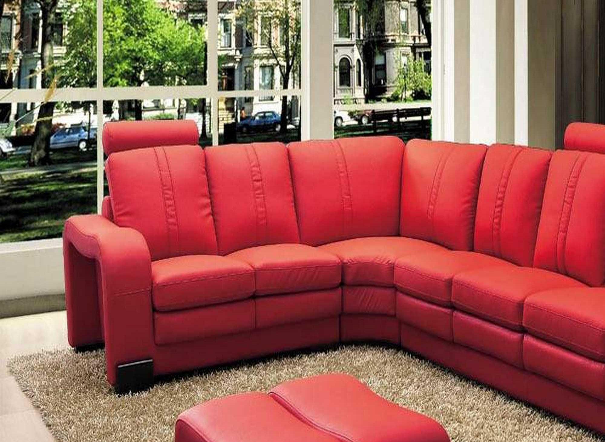 Canapé d'angle en cuir rouge avec appuie tête relax HAVANE (angle gauche)
