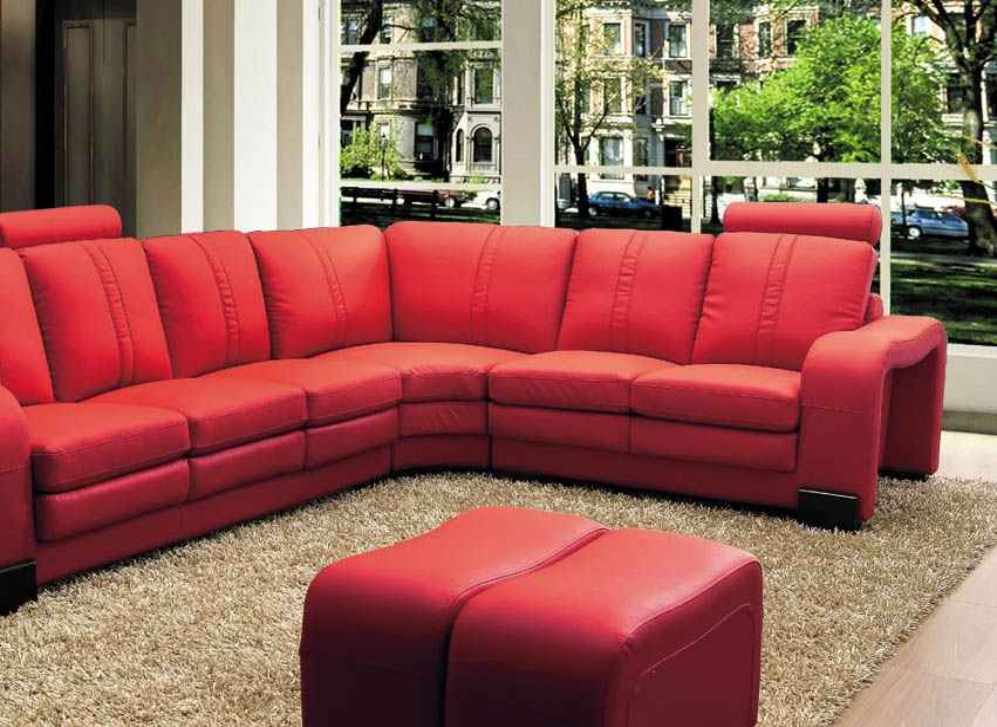 Canapé d'angle relax cuir rouge HAVANE - Angle Droit