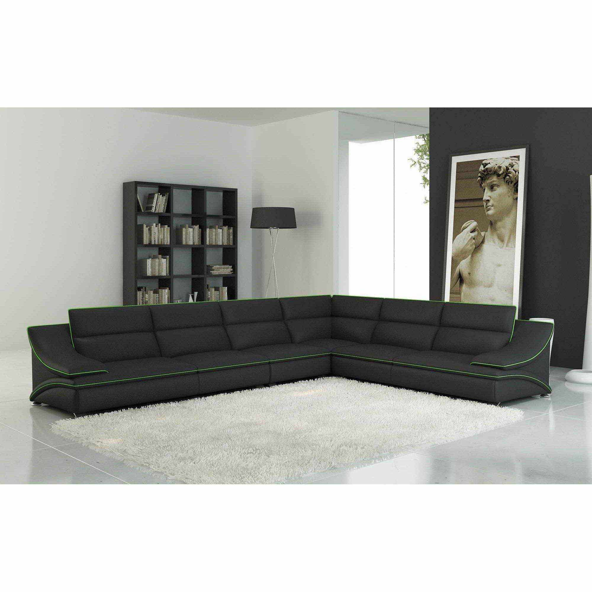 deco in paris 1 canape d angle cuir design noir et vert. Black Bedroom Furniture Sets. Home Design Ideas