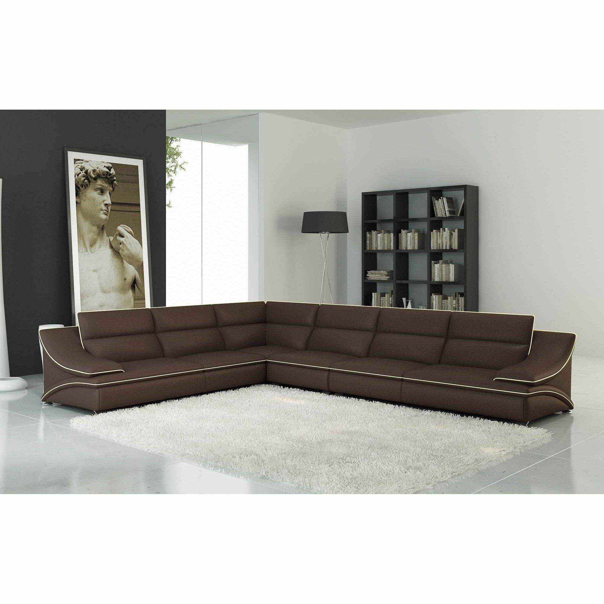deco in paris 4 canape d angle gauche cuir design marron et beige roxa roxa gauche marron beige. Black Bedroom Furniture Sets. Home Design Ideas