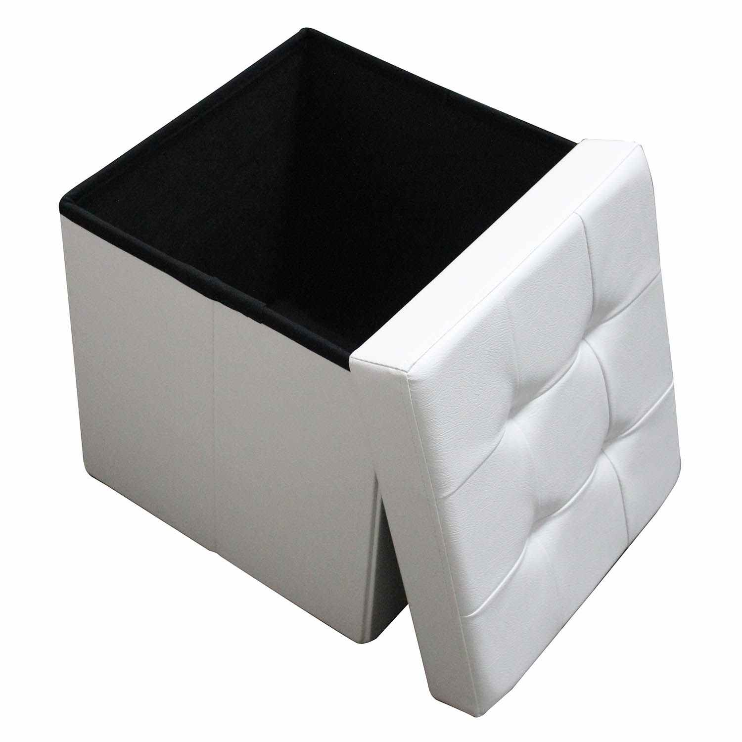 deco in paris 8 pouf coffre carre pliable blanc pouf. Black Bedroom Furniture Sets. Home Design Ideas