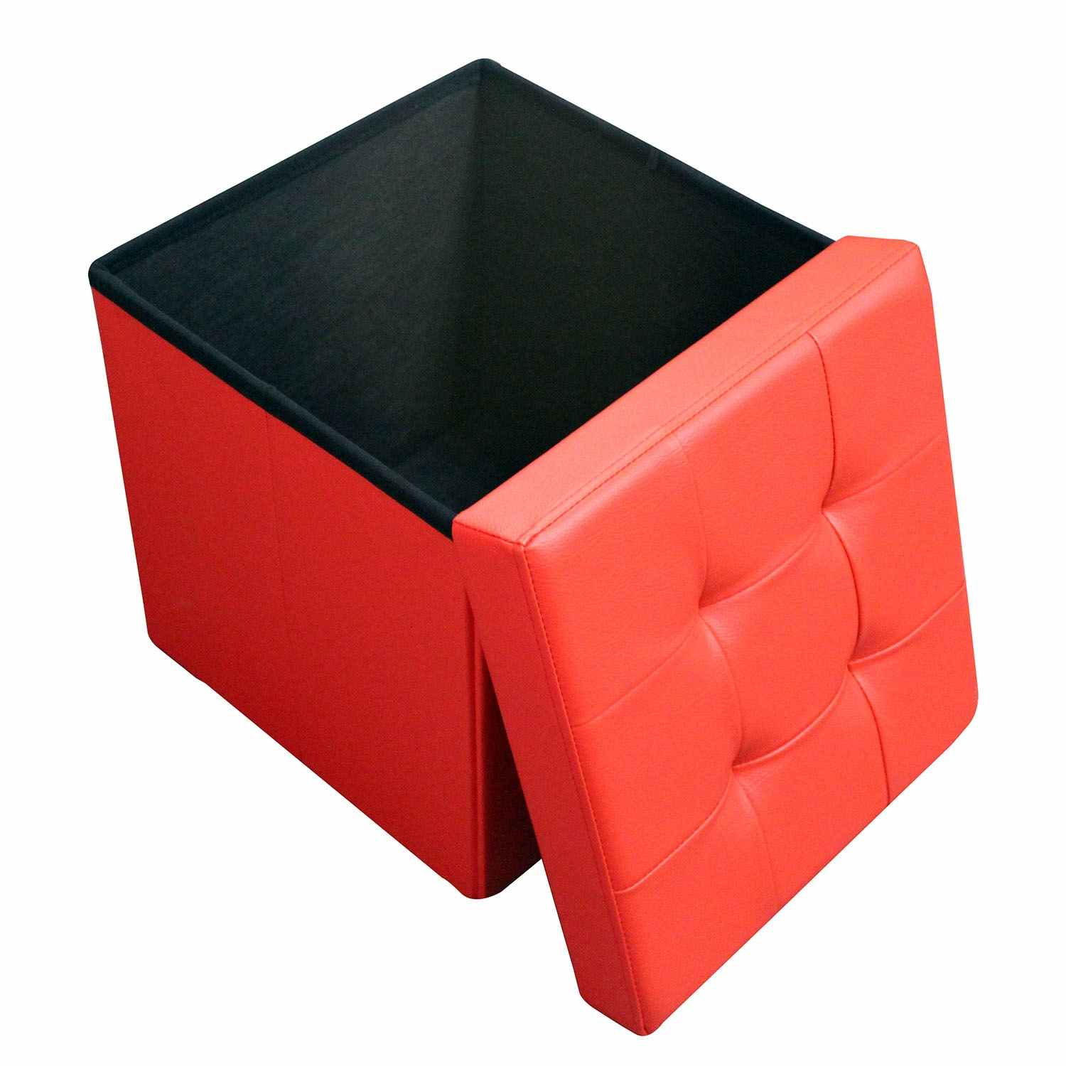 deco in paris 9 pouf coffre carre pliable rouge pouf
