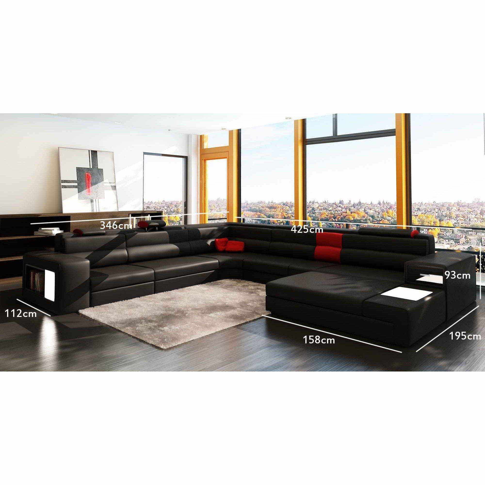 deco in paris canape panoramique noir et rouge angle droit venise can pano angledroit pu. Black Bedroom Furniture Sets. Home Design Ideas