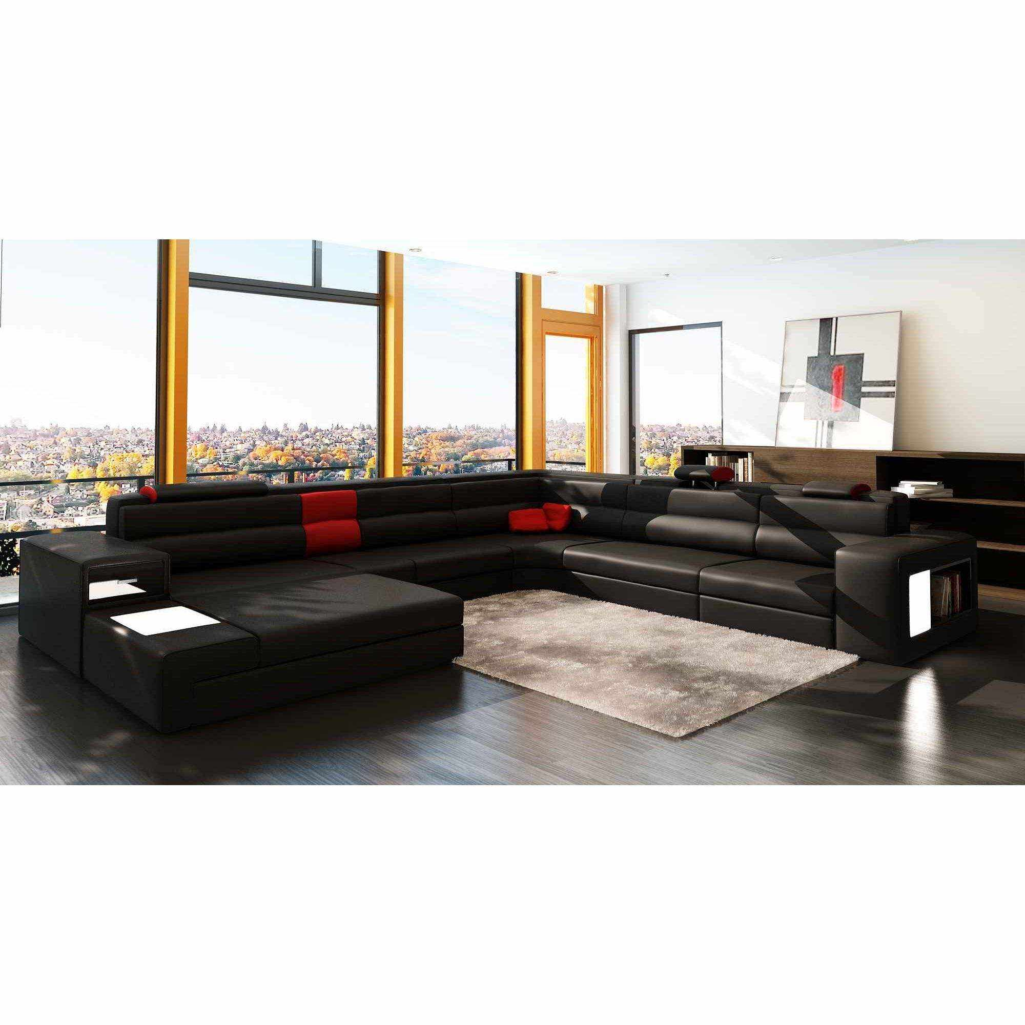 deco in paris canape panoramique cuir angle gauche noir et rouge venise can pano anglegauche. Black Bedroom Furniture Sets. Home Design Ideas