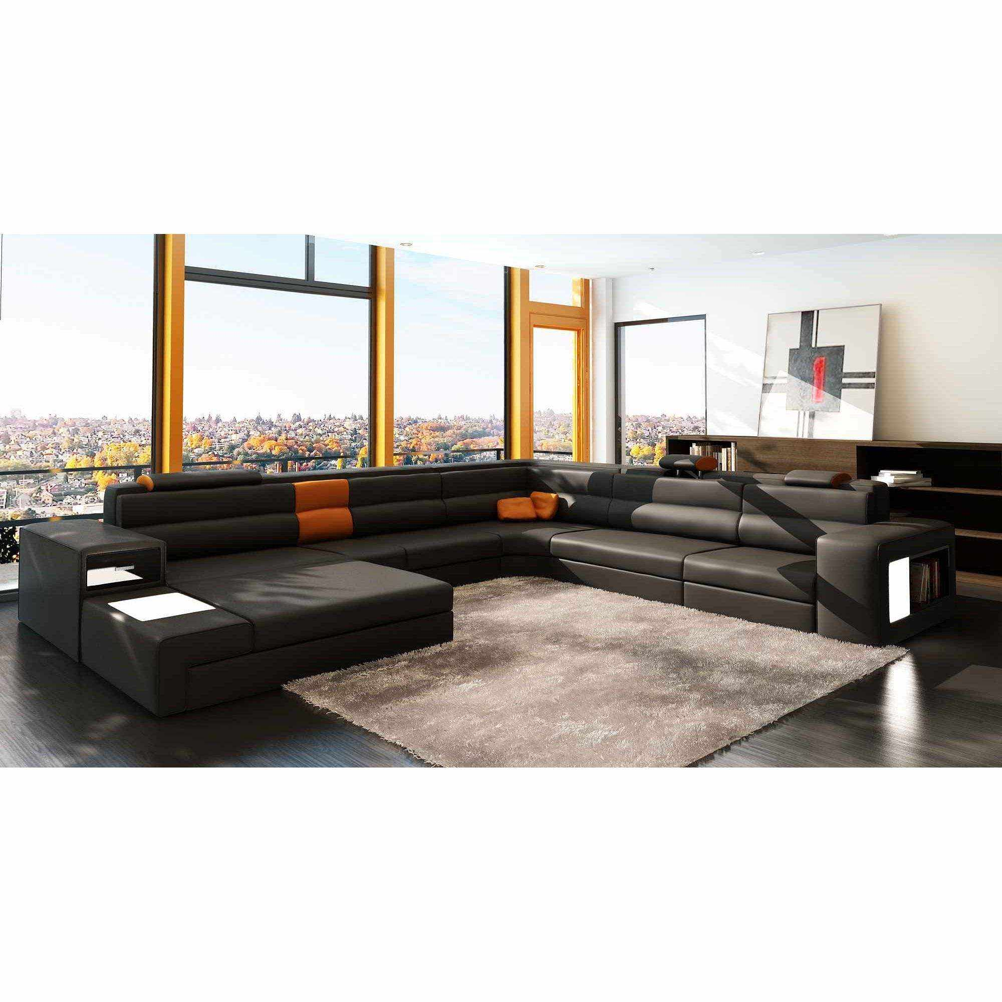 Deco in paris 9 canape panoramique cuir angle gauche for Canape cuir orange contemporain