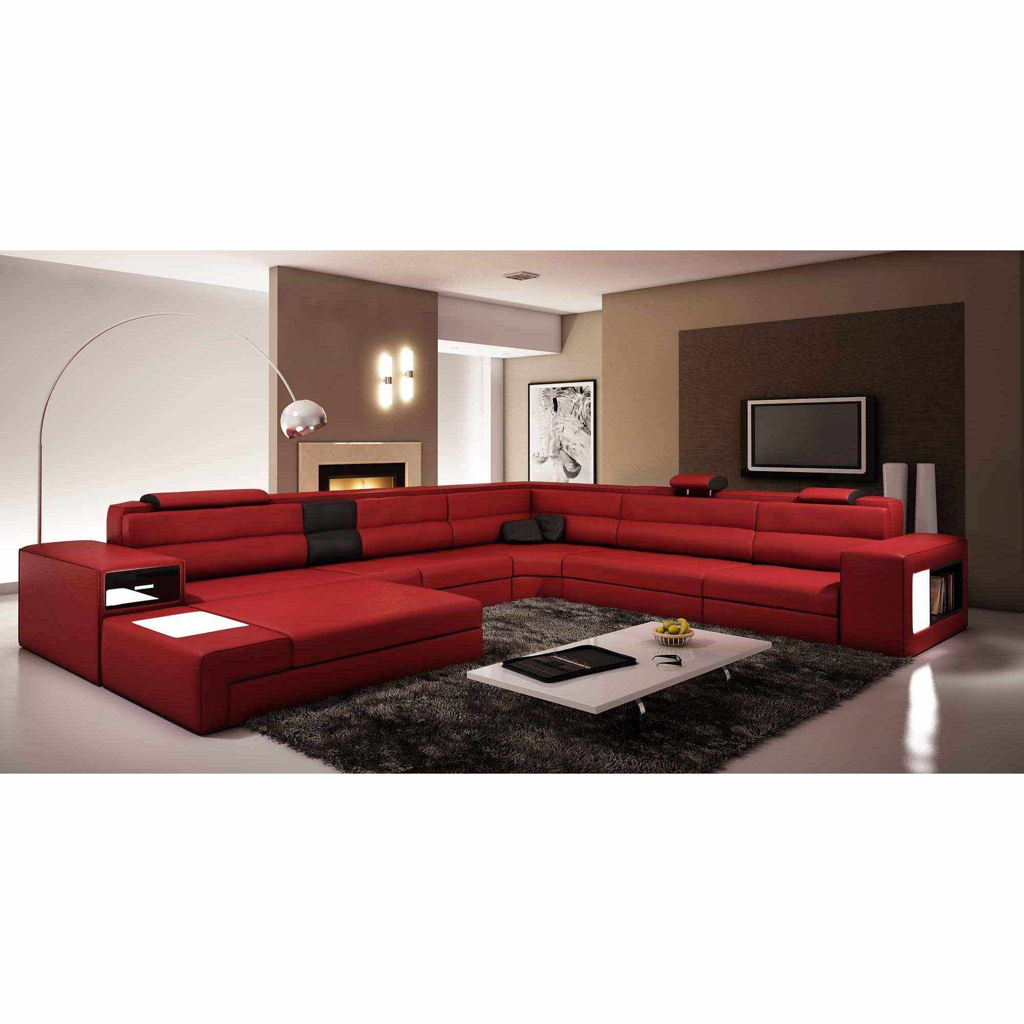 deco in paris 0 canape panoramique cuir angle gauche rouge et noir venise can pano anglegauche. Black Bedroom Furniture Sets. Home Design Ideas