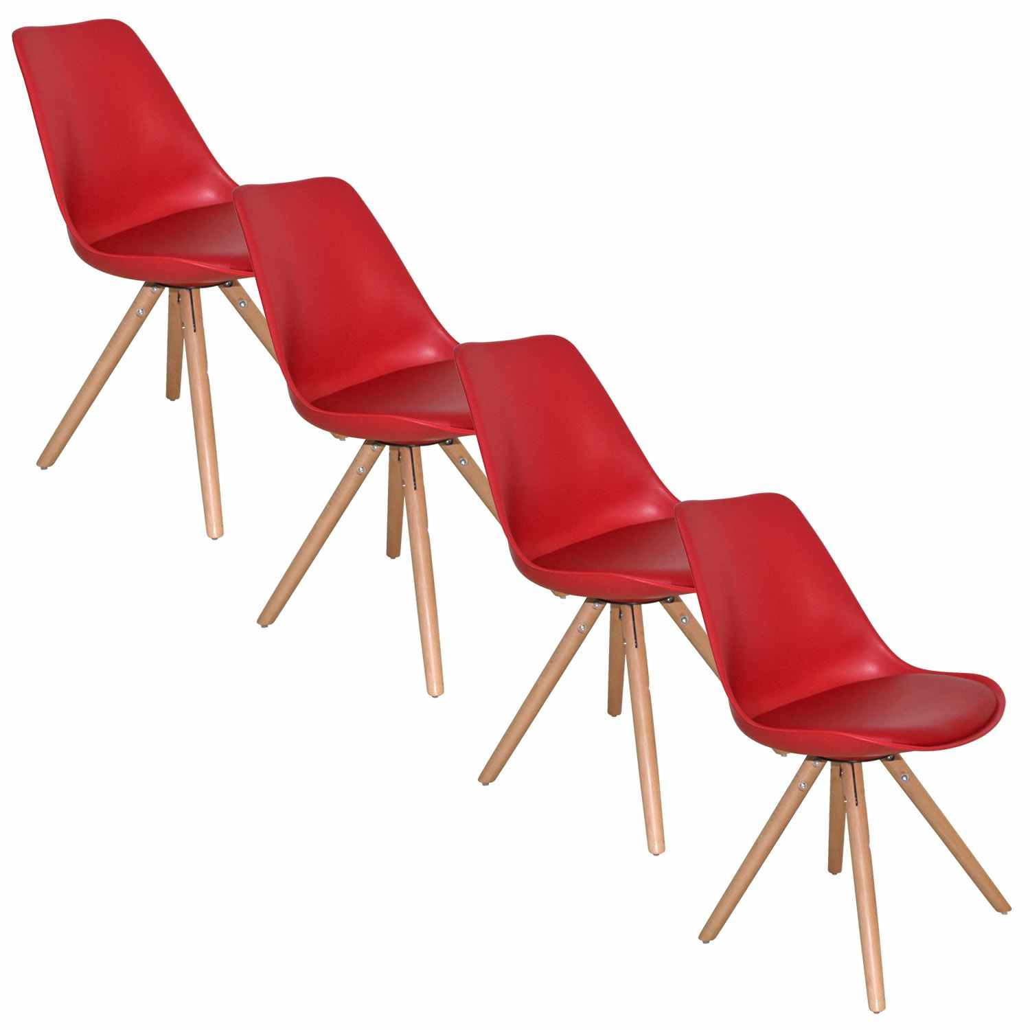Deco in paris lot de 4 chaises design rouge velta velta for Lot 4 chaises
