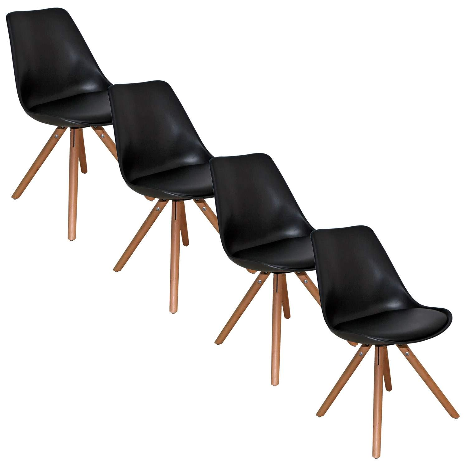 Deco in paris lot de 4 chaises design noir velta velta for Chaise noir design