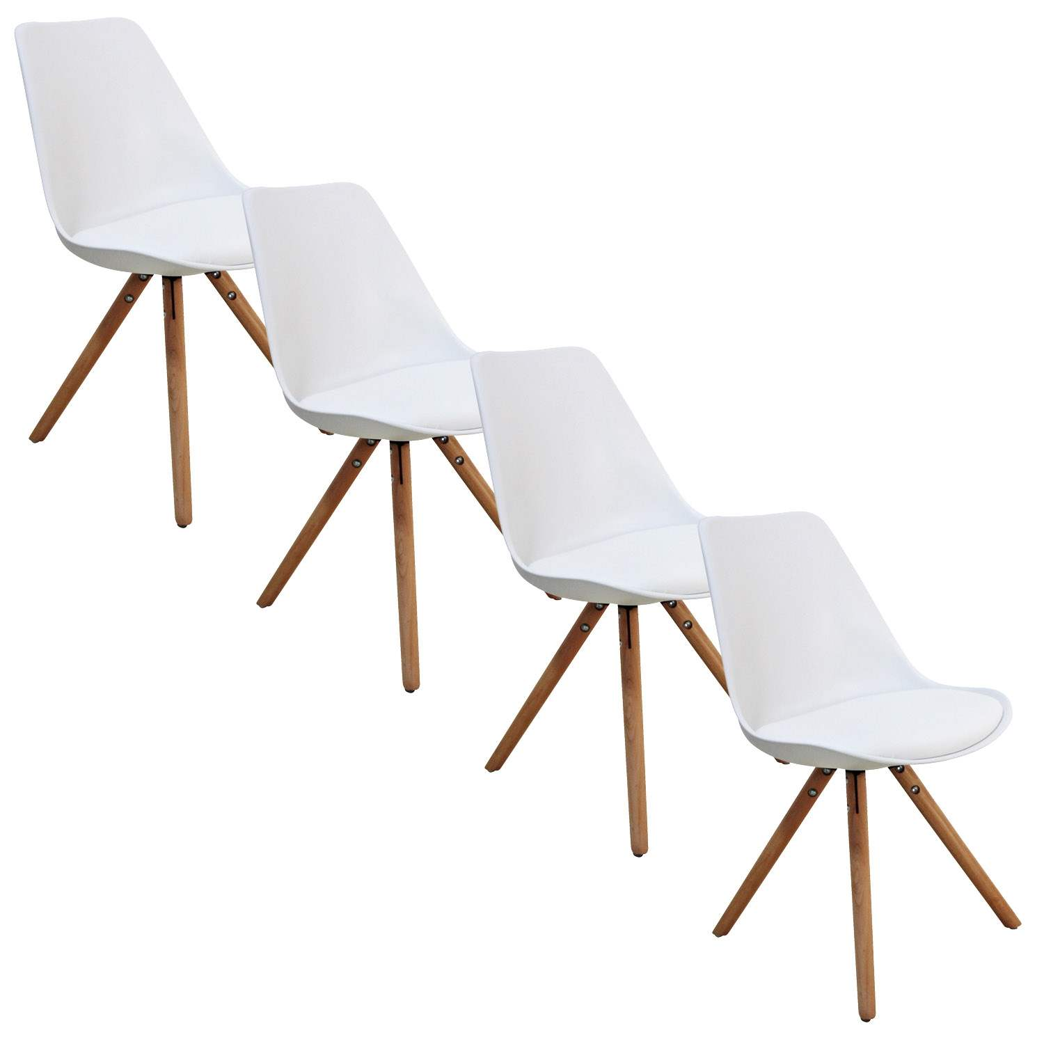Deco in paris lot de 4 chaises design blanc velta velta for Lot 4 chaises