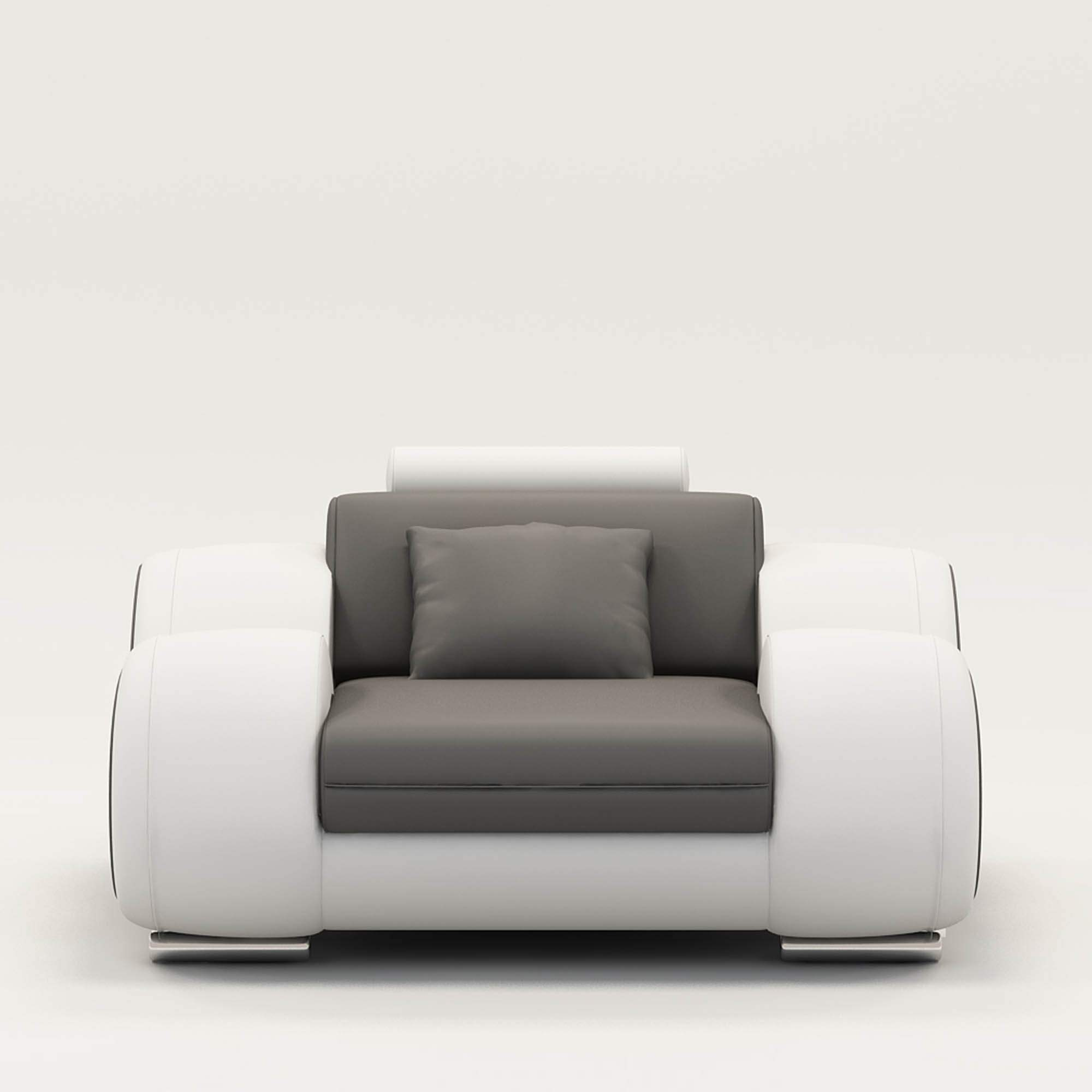Deco in paris 1 fauteuil cuir relax design gris et blanc for Chaise design gris et blanc