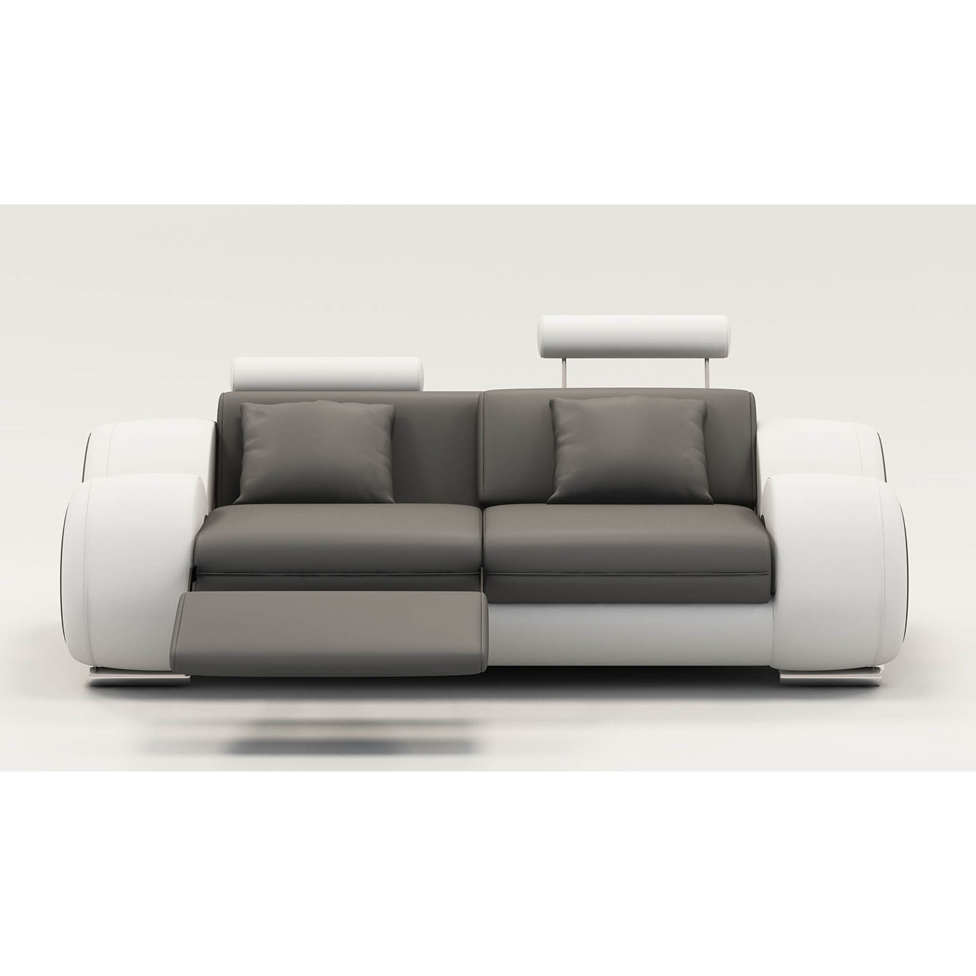 Deco in paris 7 canape 2 places design relax oslo en cuir gris et blanc osl - Canape relax 2 places ...