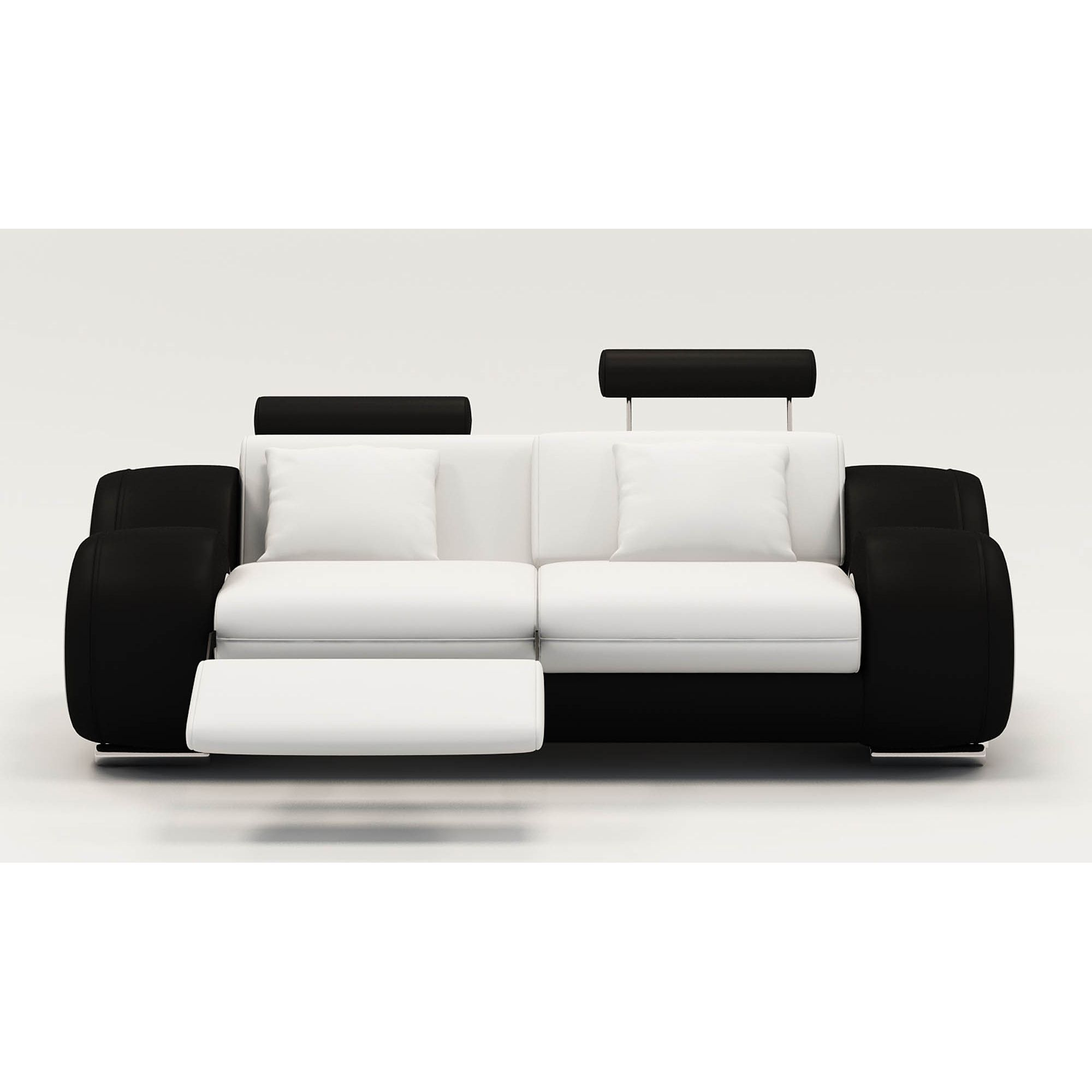 Deco in paris canape 2 places design relax oslo en cuir blanc et noir 2pl b - Canape relax 2 places ...
