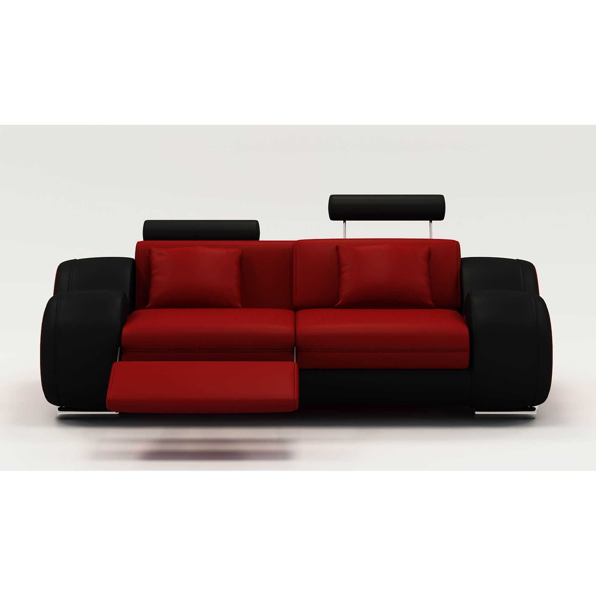 Deco in paris 5 canape 2 places design relax oslo en cuir rouge et noir osl - Canape cuir noir design ...