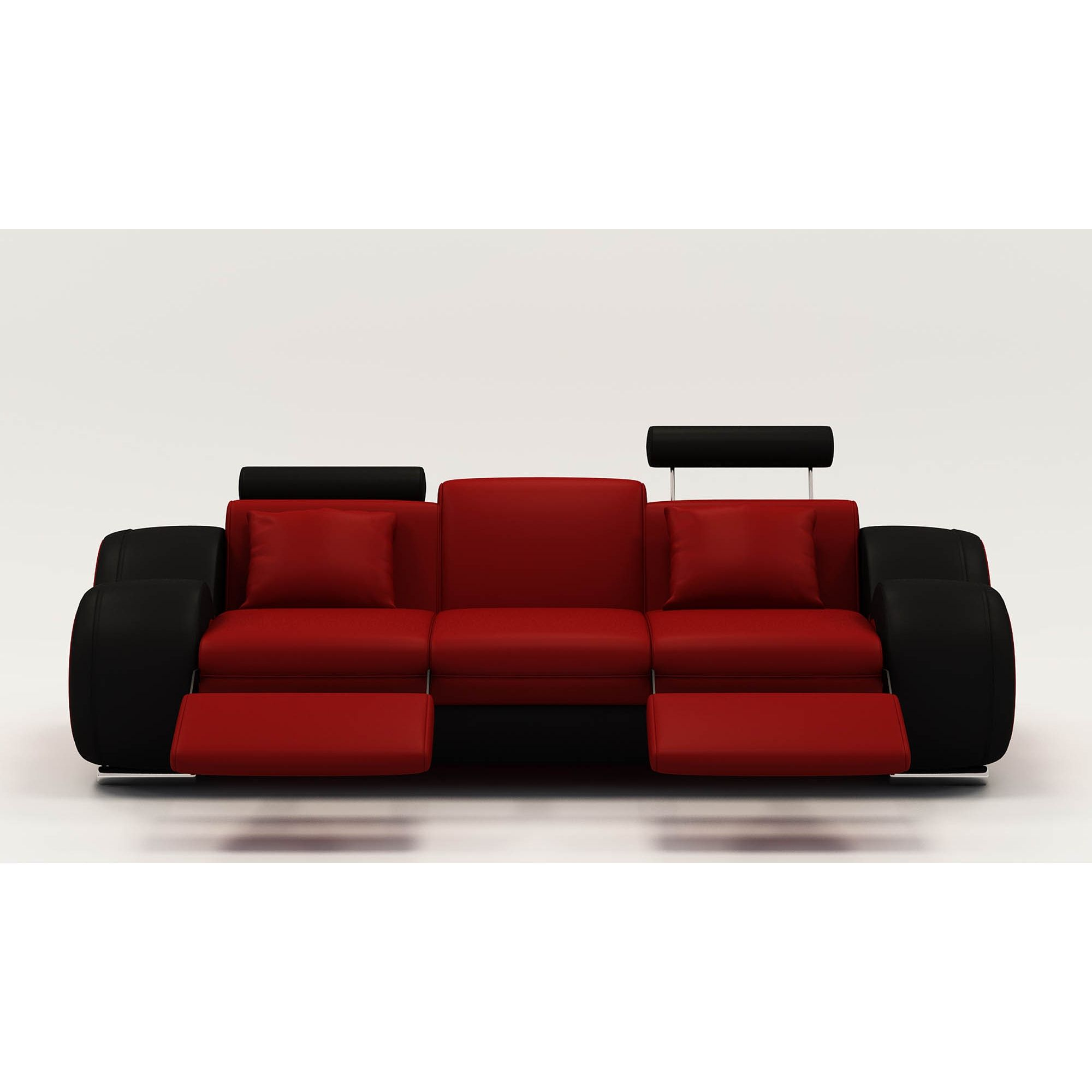 Deco in paris 7 canape design 3 places cuir rouge et noir tetieres relax os - Canape relax cuir 3 places ...