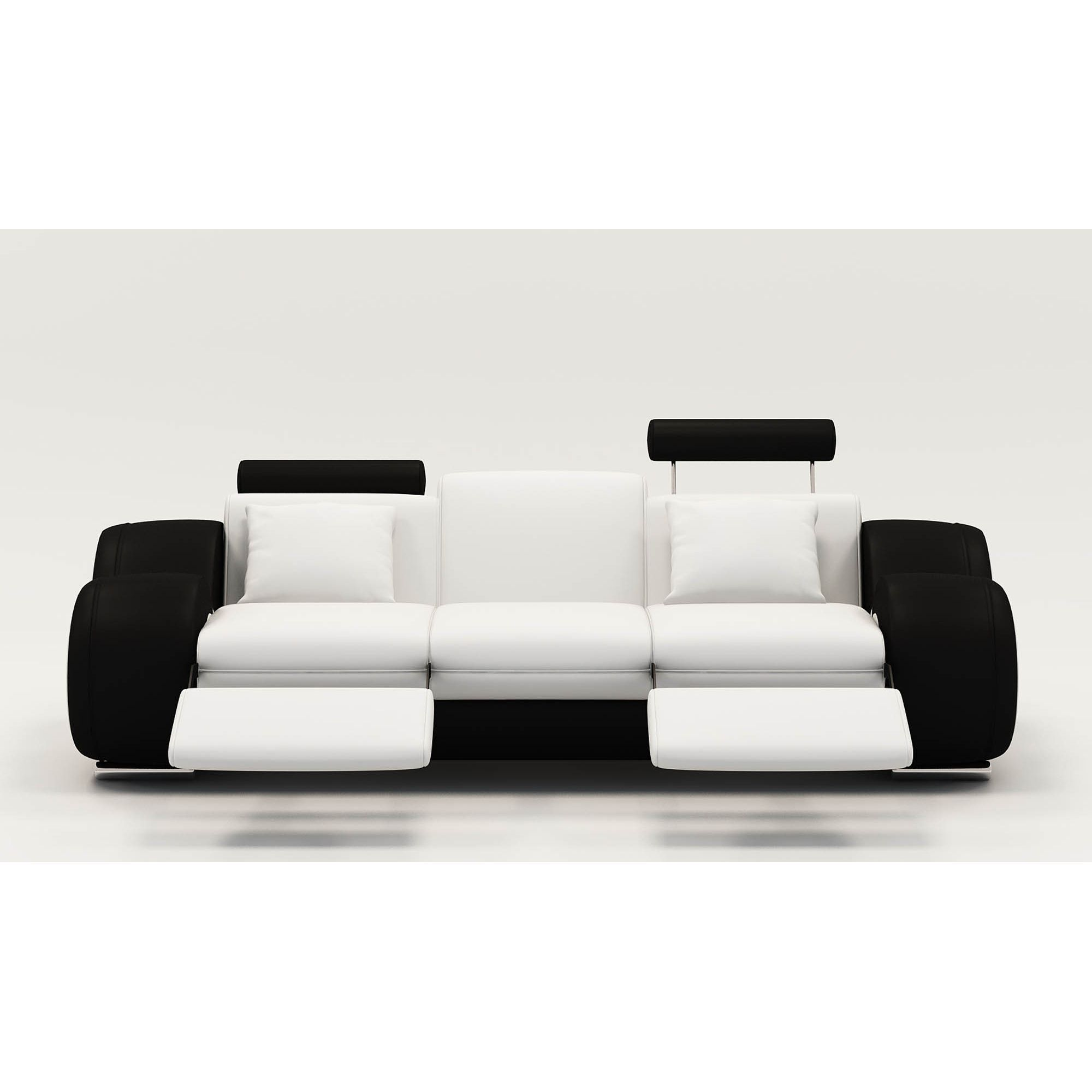Deco in paris canape design 3 places cuir blanc et noir appuies tetes relax - Canape cuir relax 3 places ...